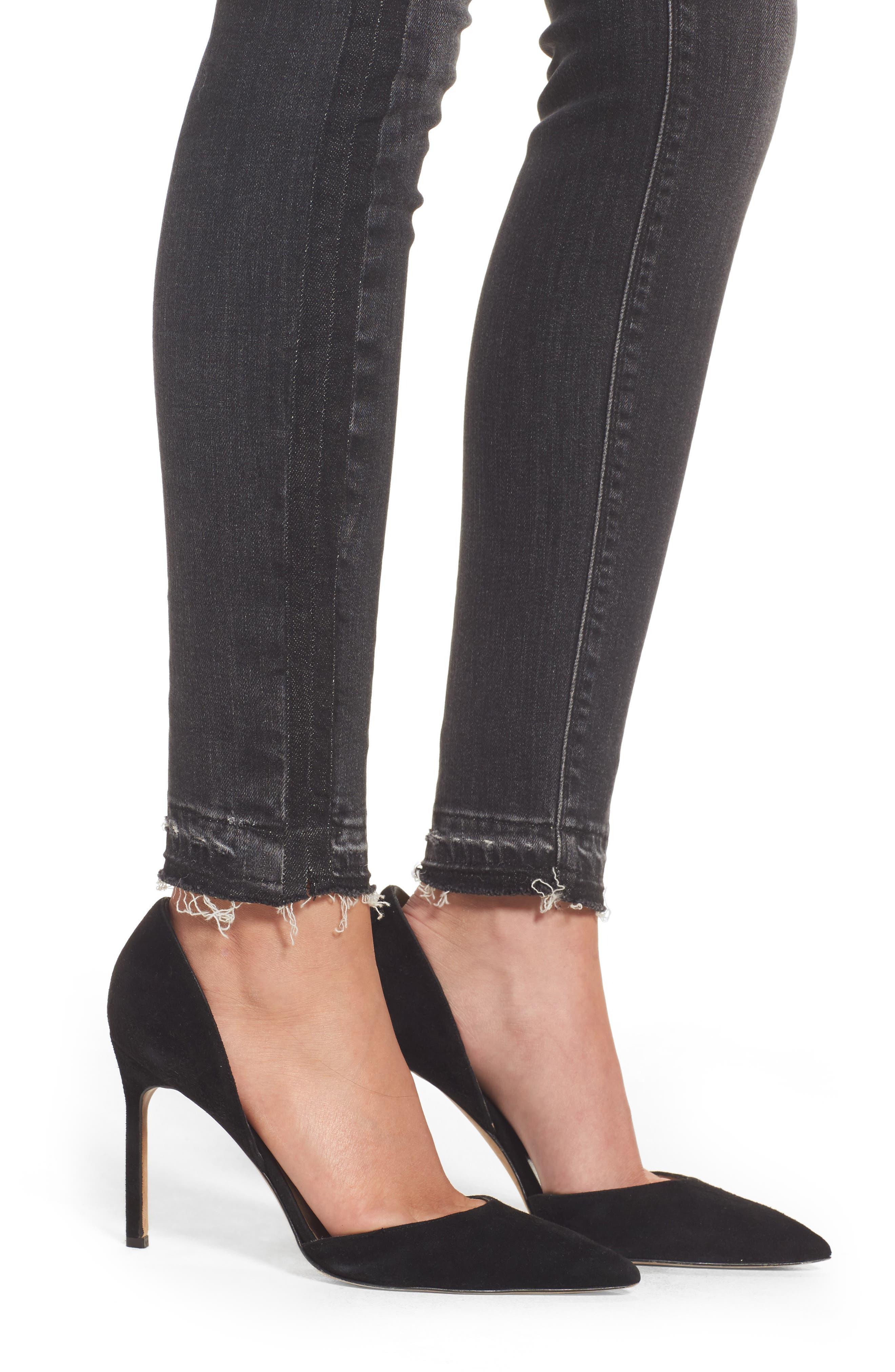 Barbara High Waist Super Skinny Jeans,                             Alternate thumbnail 4, color,                             Onix