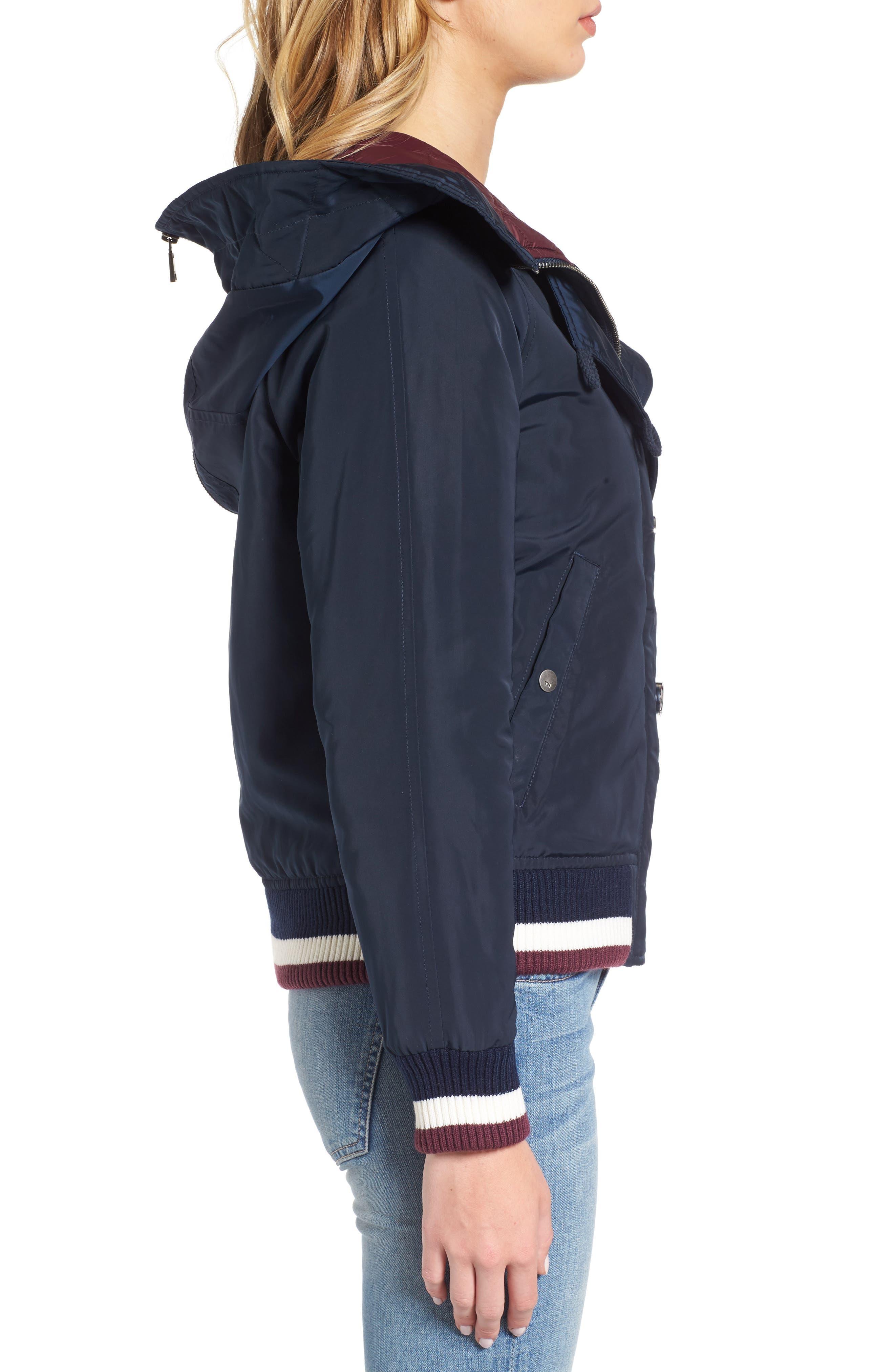 Hooded Windbreaker Jacket,                             Alternate thumbnail 3, color,                             Navy