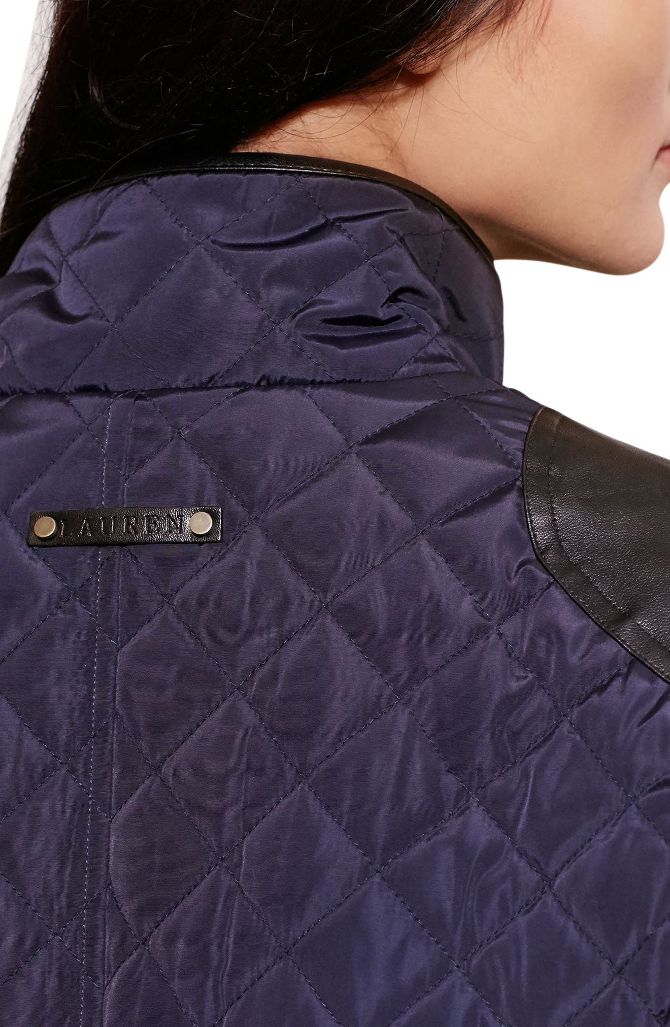 Diamond Quilted Jacket with Faux Leather Trim,                             Alternate thumbnail 4, color,                             Dark Navy
