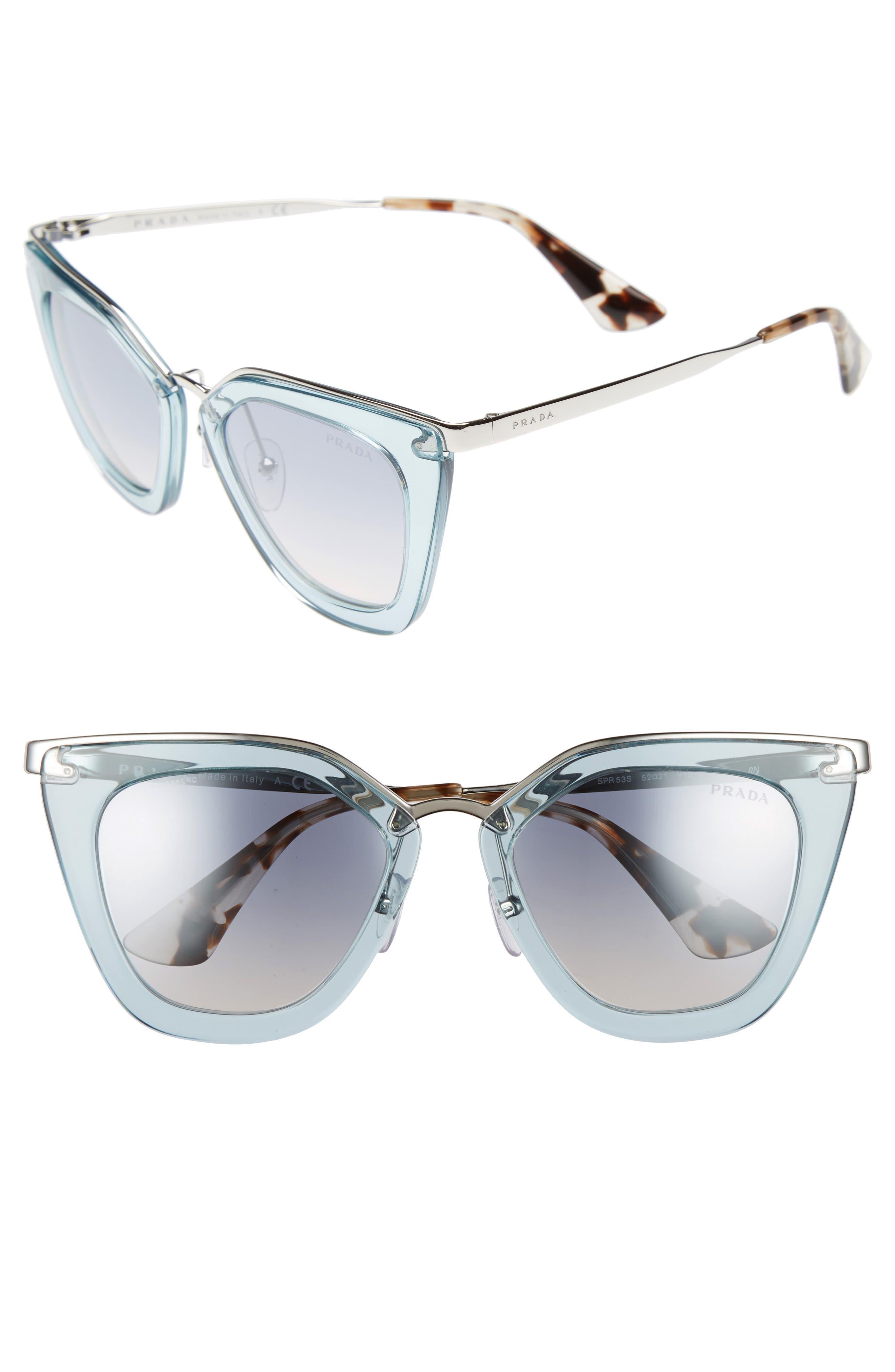 52mm Retro Sunglasses,                         Main,                         color, Light Blue