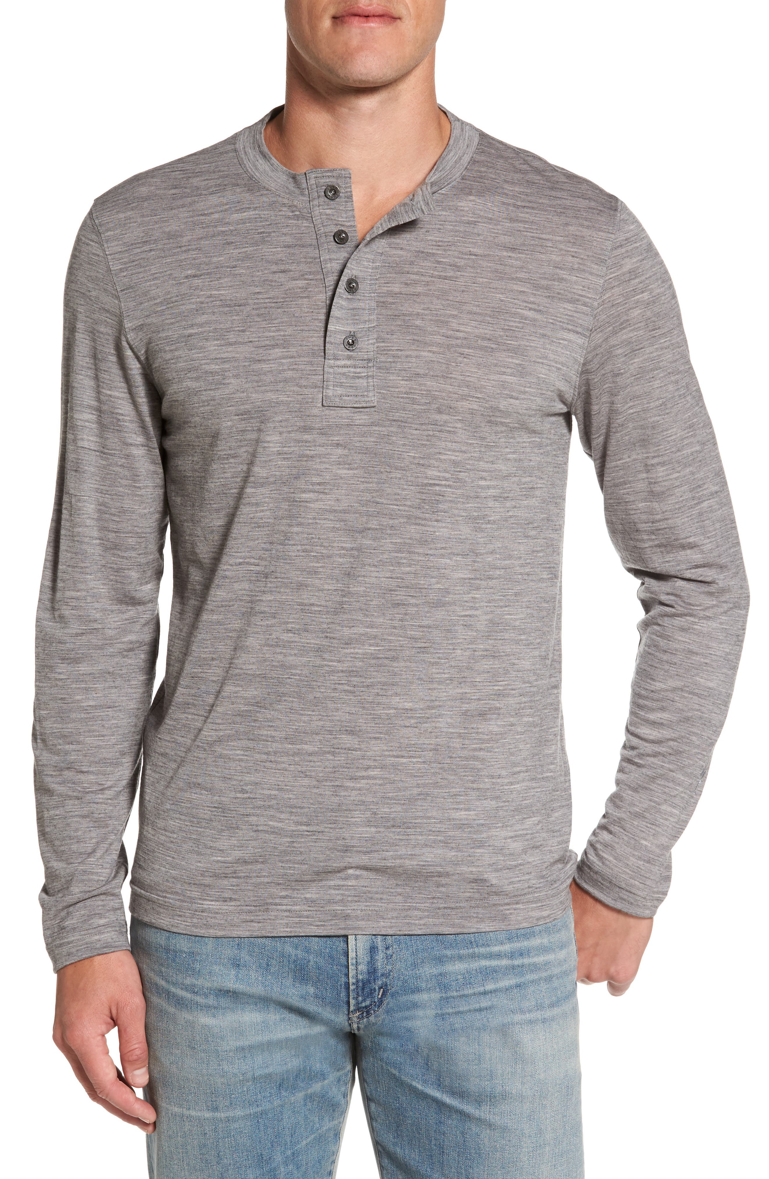 Odyssey Merino Wool Blend Henley,                             Main thumbnail 1, color,                             Stone Grey Heather
