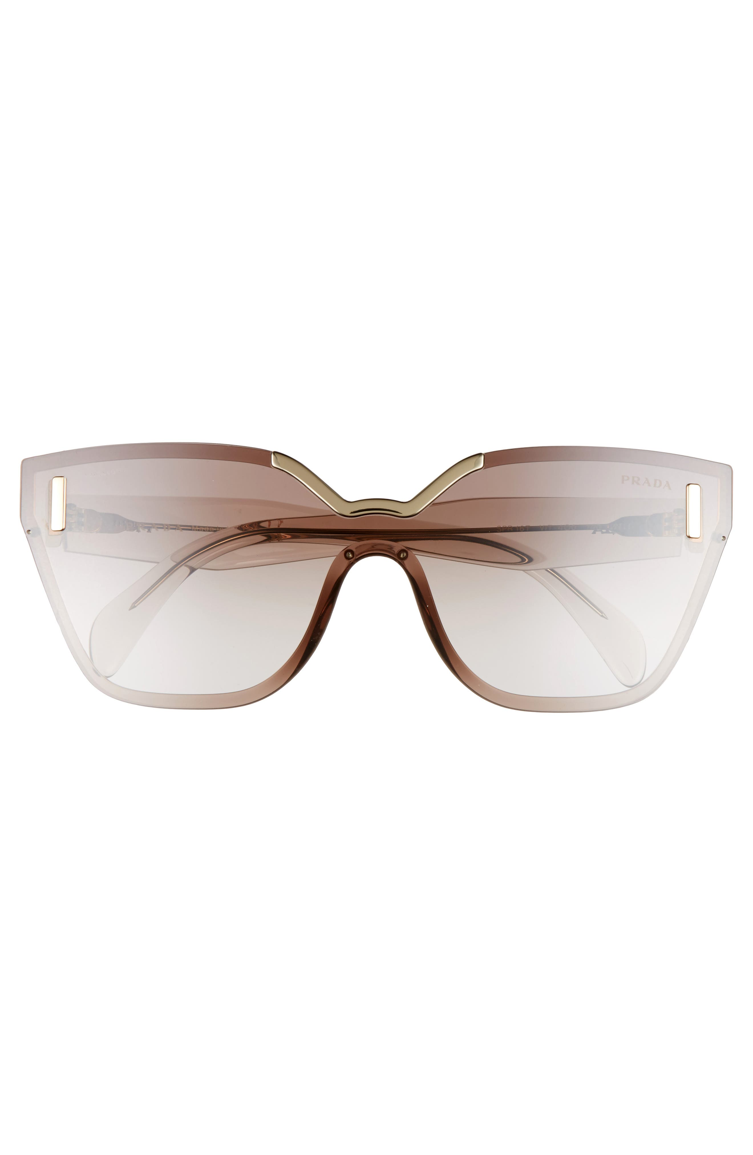 61mm Mirrored Shield Sunglasses,                             Alternate thumbnail 2, color,                             Brown Mirror