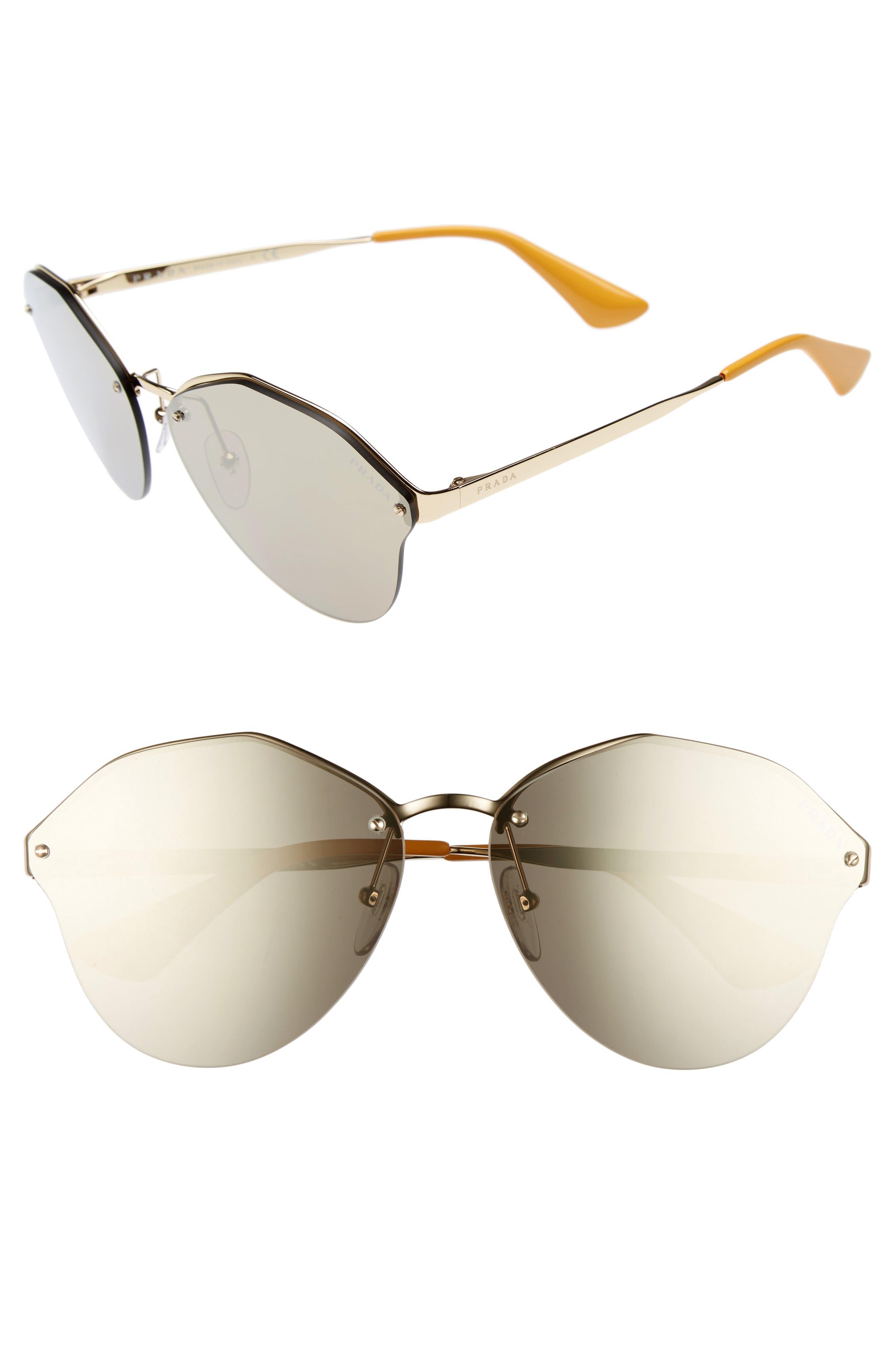 PRADA 66mm Oversize Rimless Sunglasses