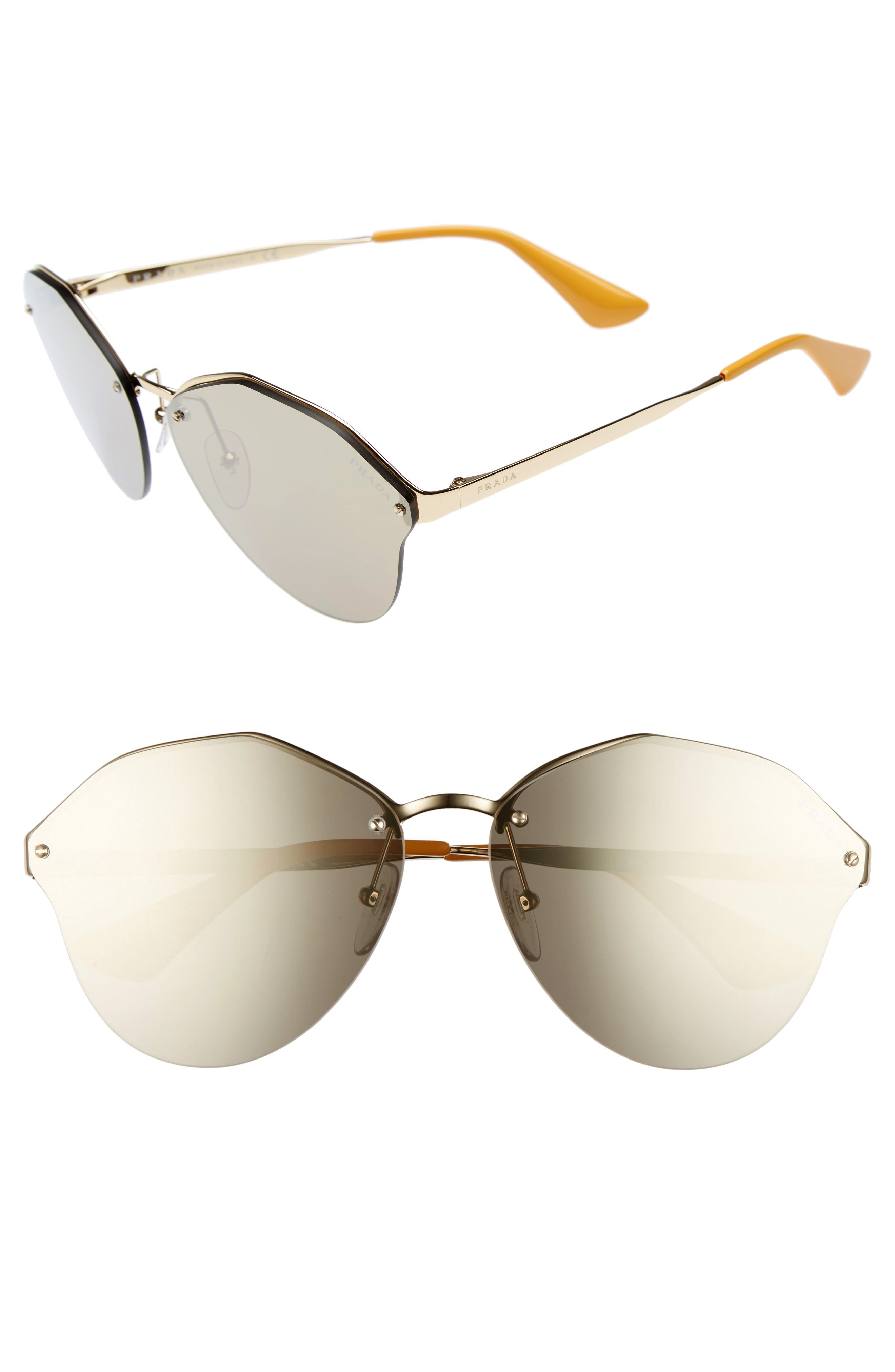 Main Image - Prada 66mm Oversize Rimless Sunglasses