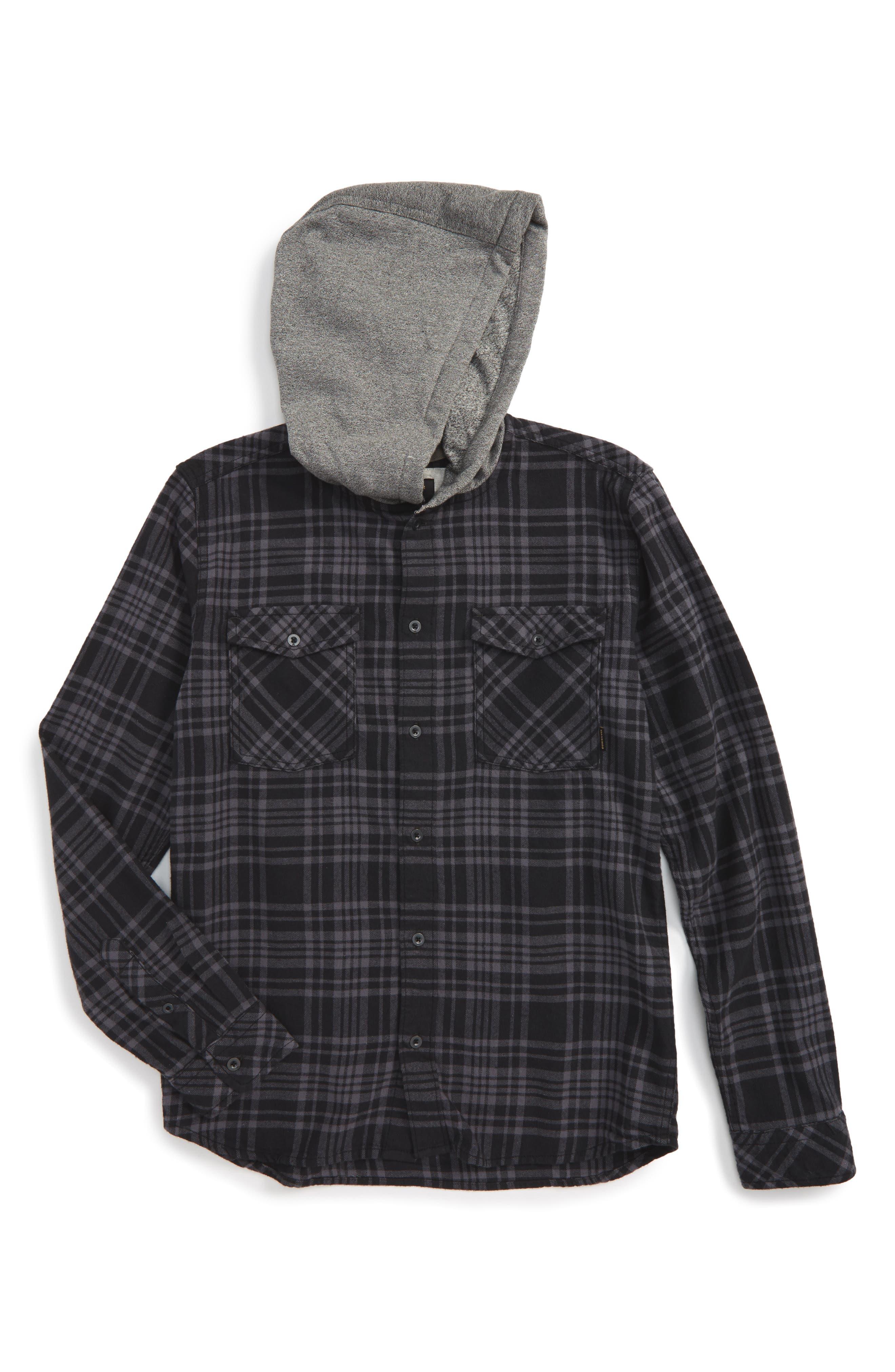 Hooded Plaid Woven Shirt,                         Main,                         color, Tarmac Snap Up