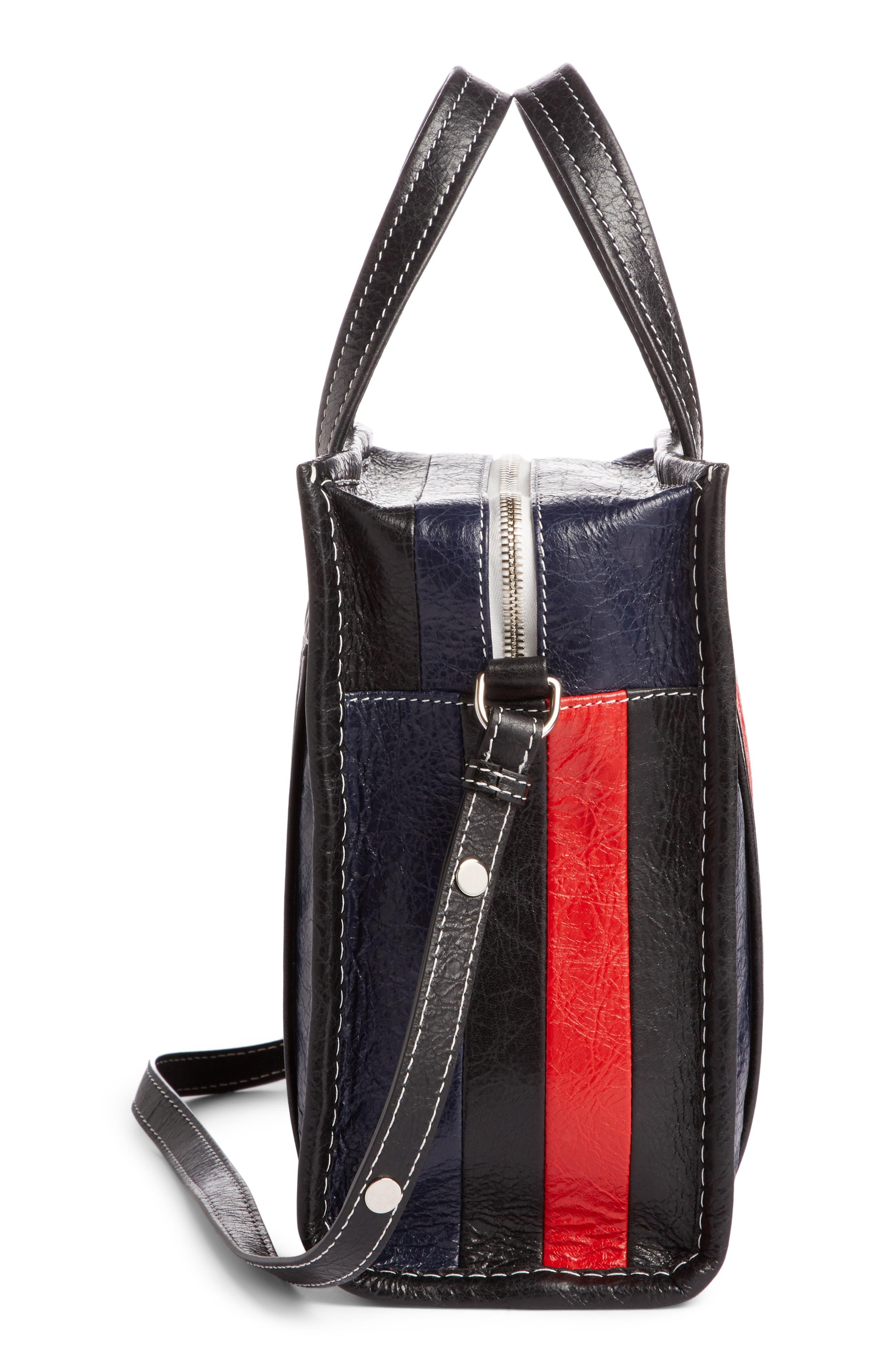 Small Bazar Leather Shopper,                             Alternate thumbnail 3, color,                             Bleu Mar/ Rouge/ Noir