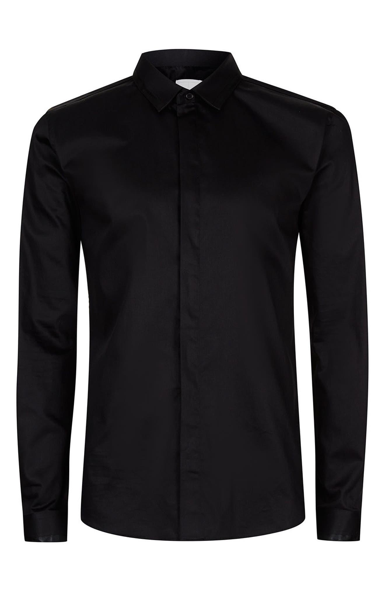 Alternate Image 7  - Topman Satin Trim Woven Shirt