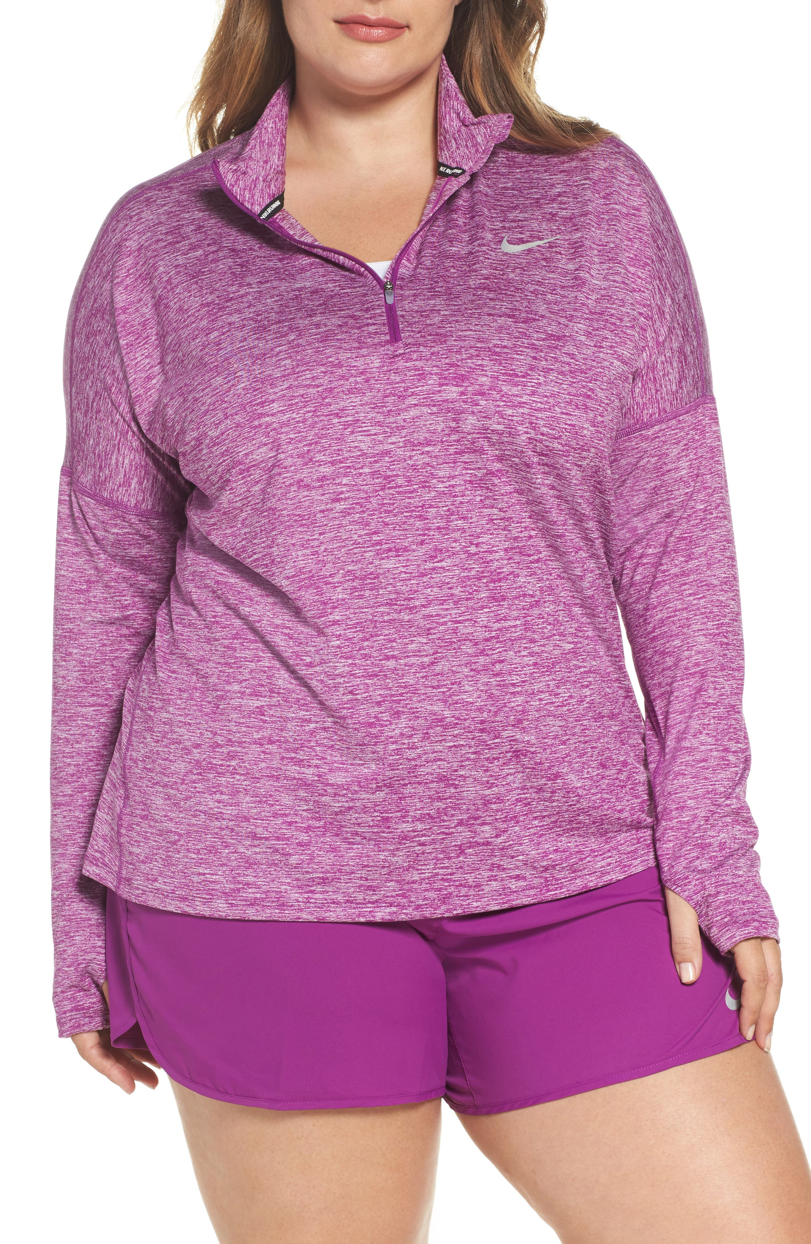 Dry Element Half Zip Top,                             Main thumbnail 1, color,                             Bold Berry/ Heather