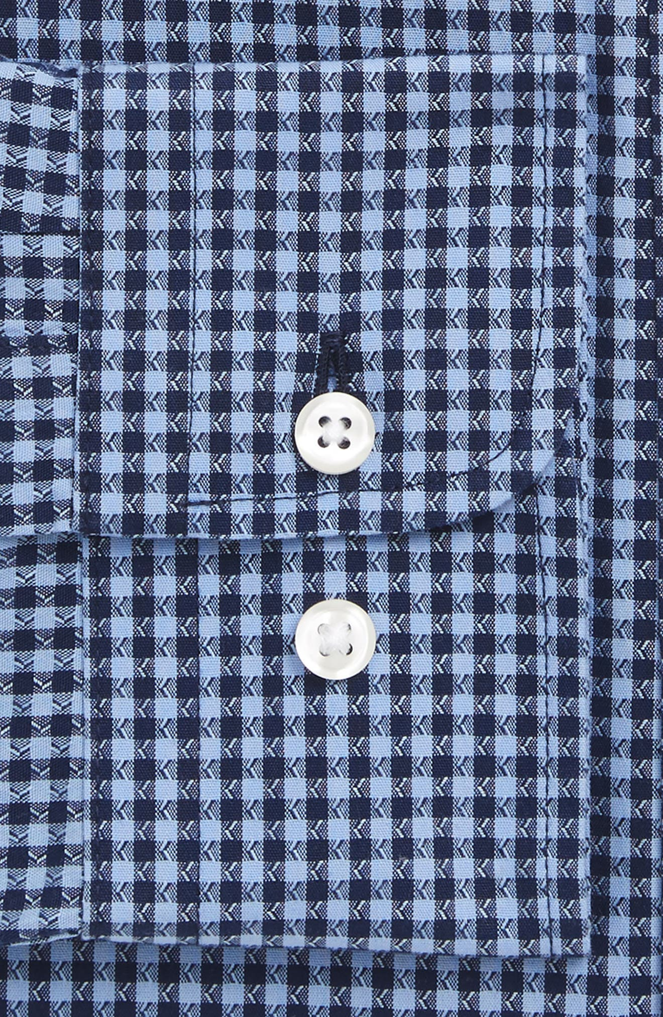 Smartcare<sup>™</sup> Trim Fit Check Dress Shirt,                             Alternate thumbnail 4, color,                             Blue Medieval