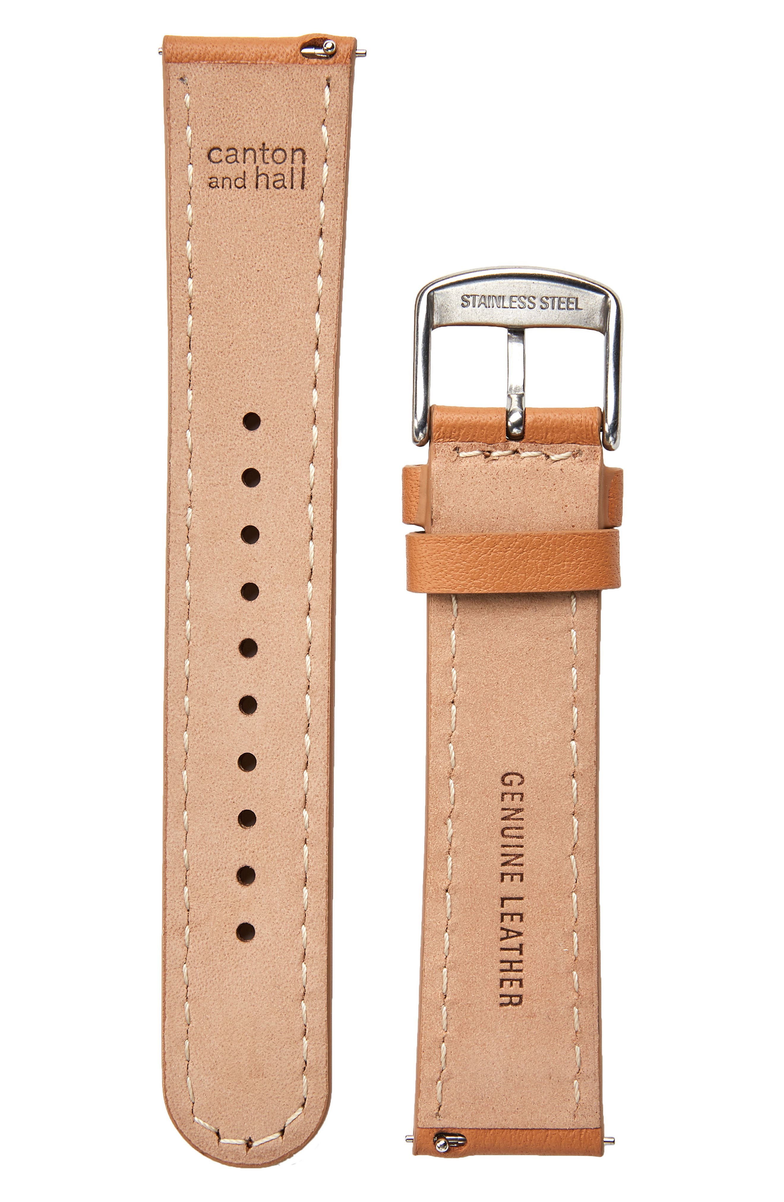Leather Watch Strap, 20mm,                             Alternate thumbnail 2, color,                             Camel