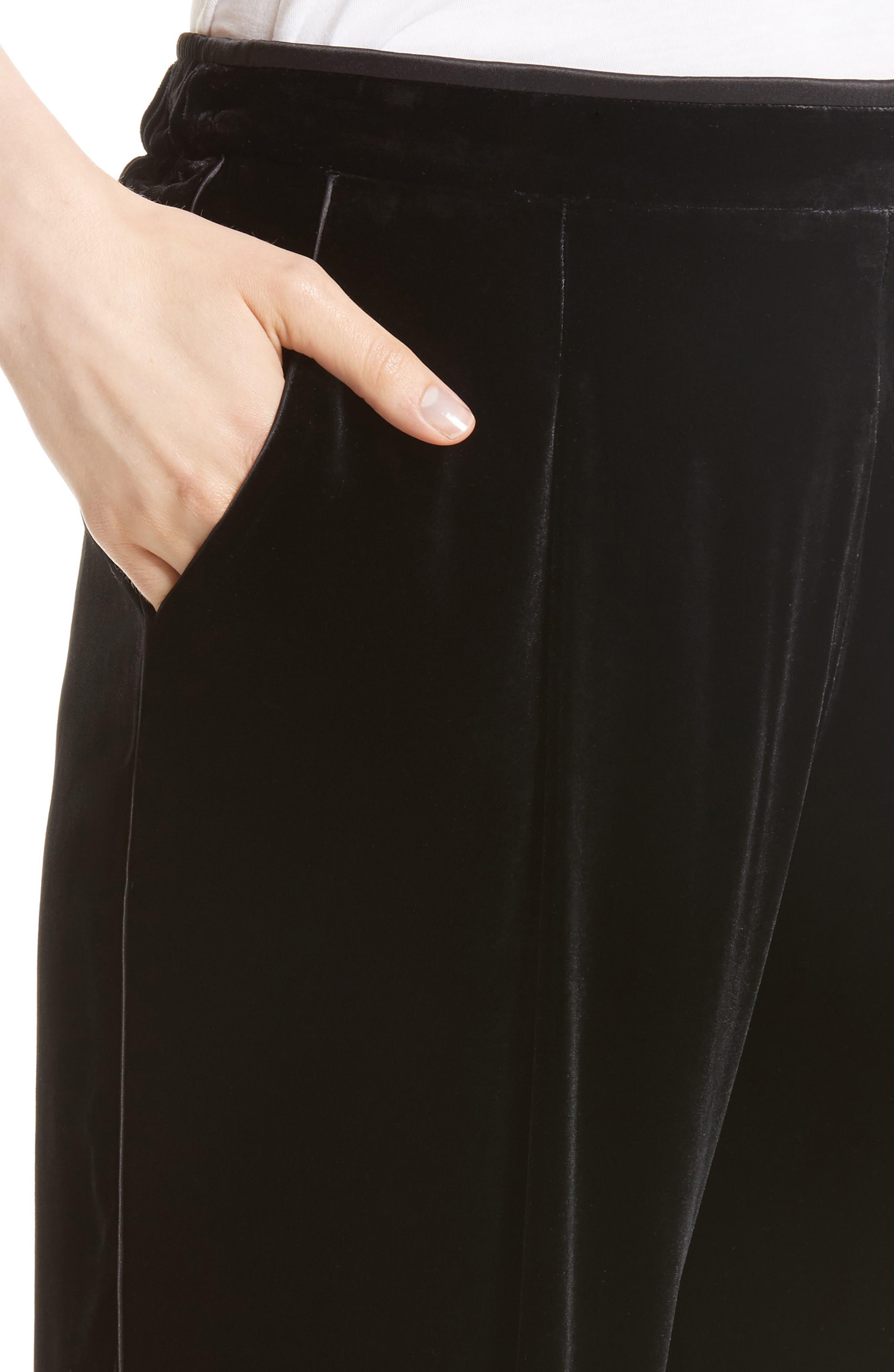 Soho Velvet Track Pants,                             Alternate thumbnail 4, color,                             Black