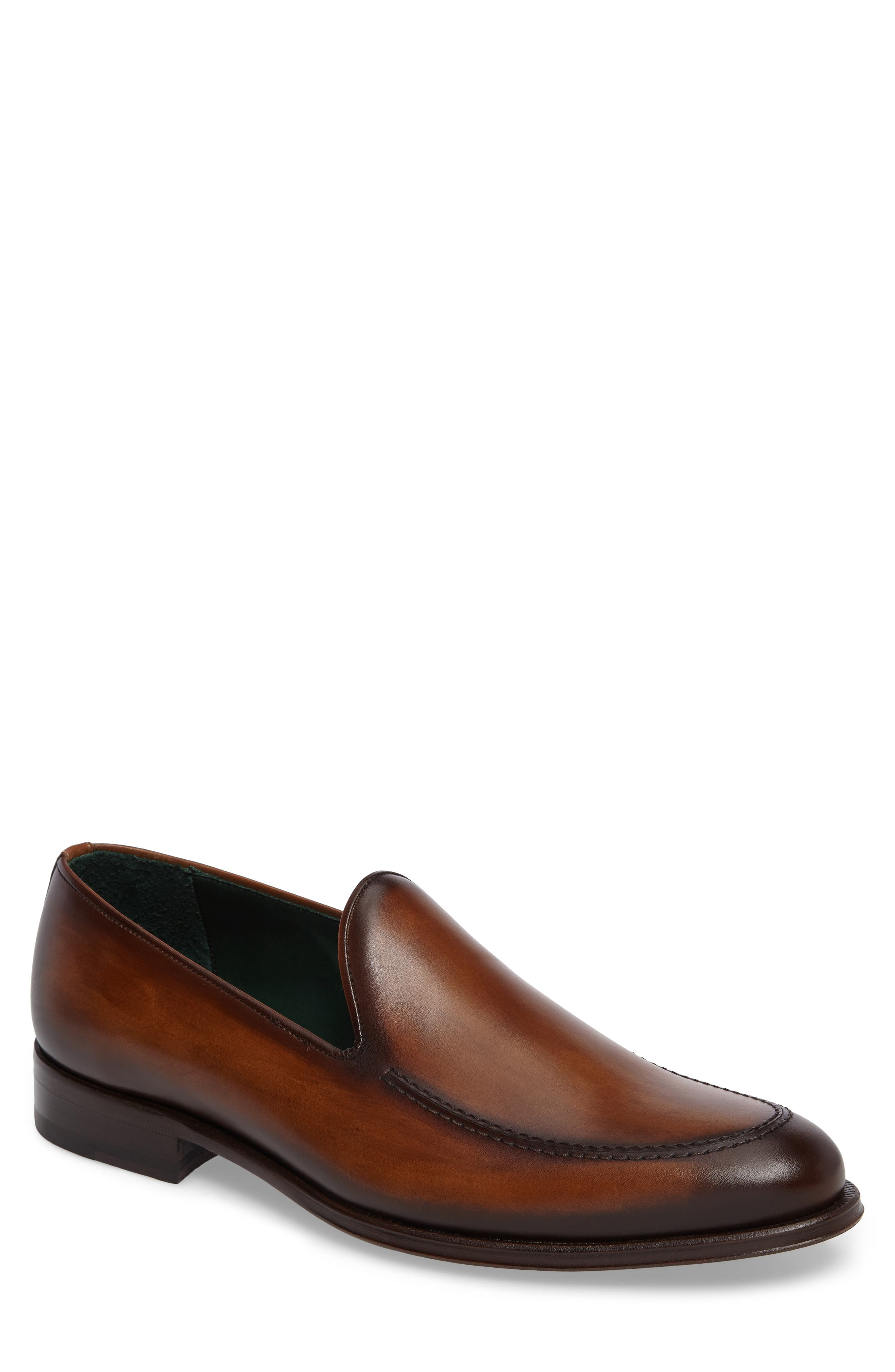 MEZLAN Rodin Apron Toe Loafer in Cognac Leather