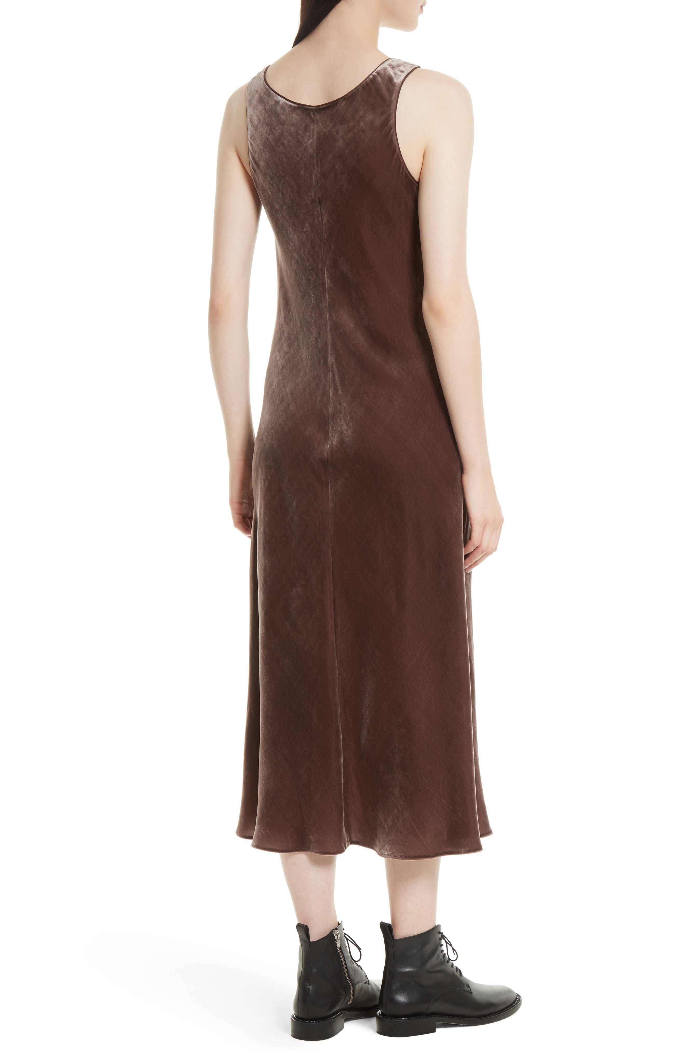 Velvet Tank Dress,                             Alternate thumbnail 2, color,                             Cocoa Bean