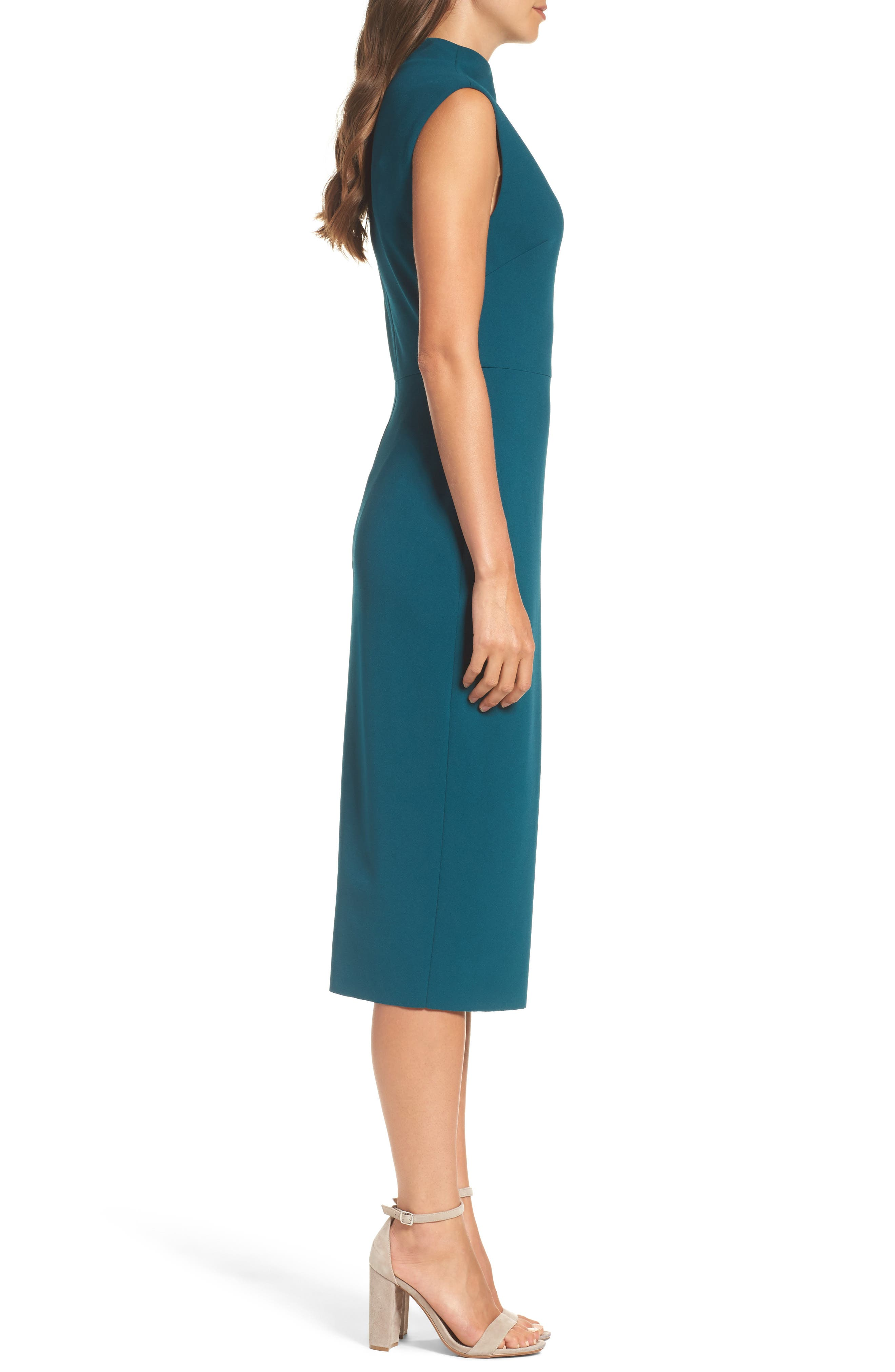 Crepe Midi Dress,                             Alternate thumbnail 4, color,                             Pine
