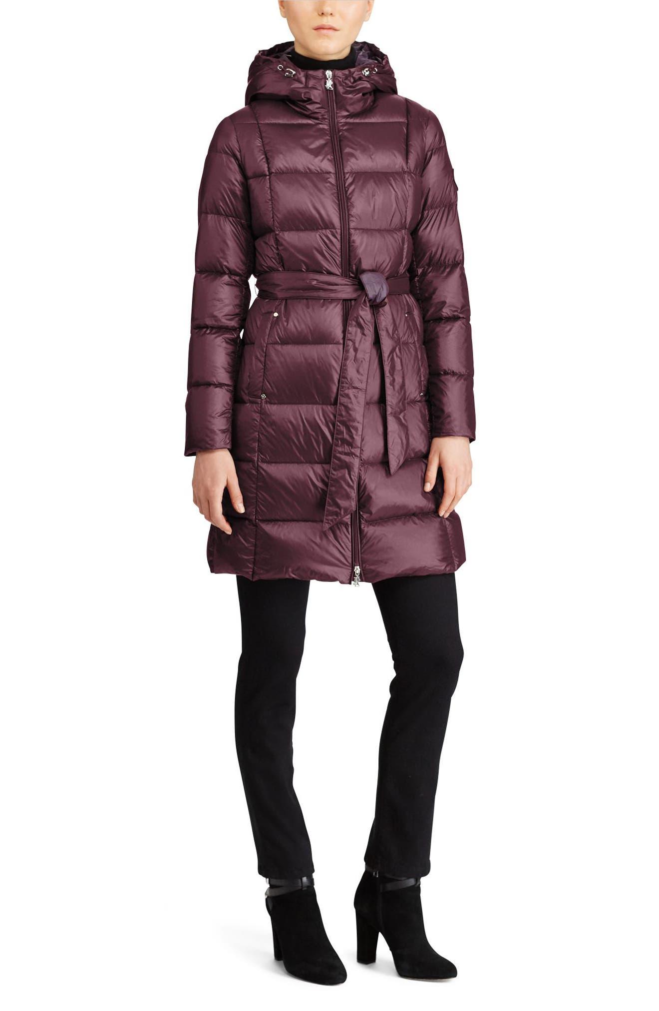 Packable Belted Down Jacket,                             Alternate thumbnail 2, color,                             Burgundy/ Aubergine