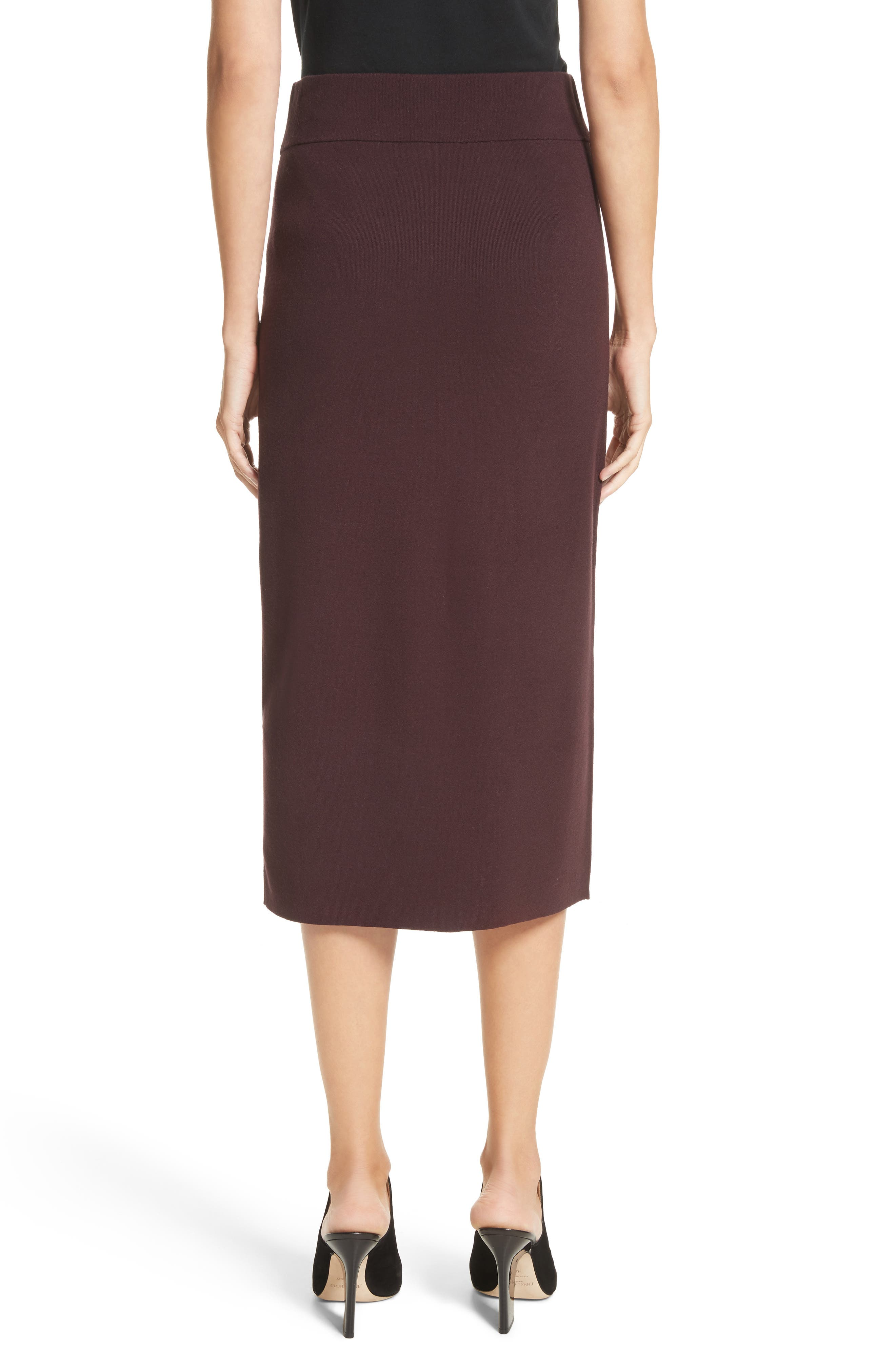 Smith Knit Pencil Skirt,                             Alternate thumbnail 3, color,                             Raisin