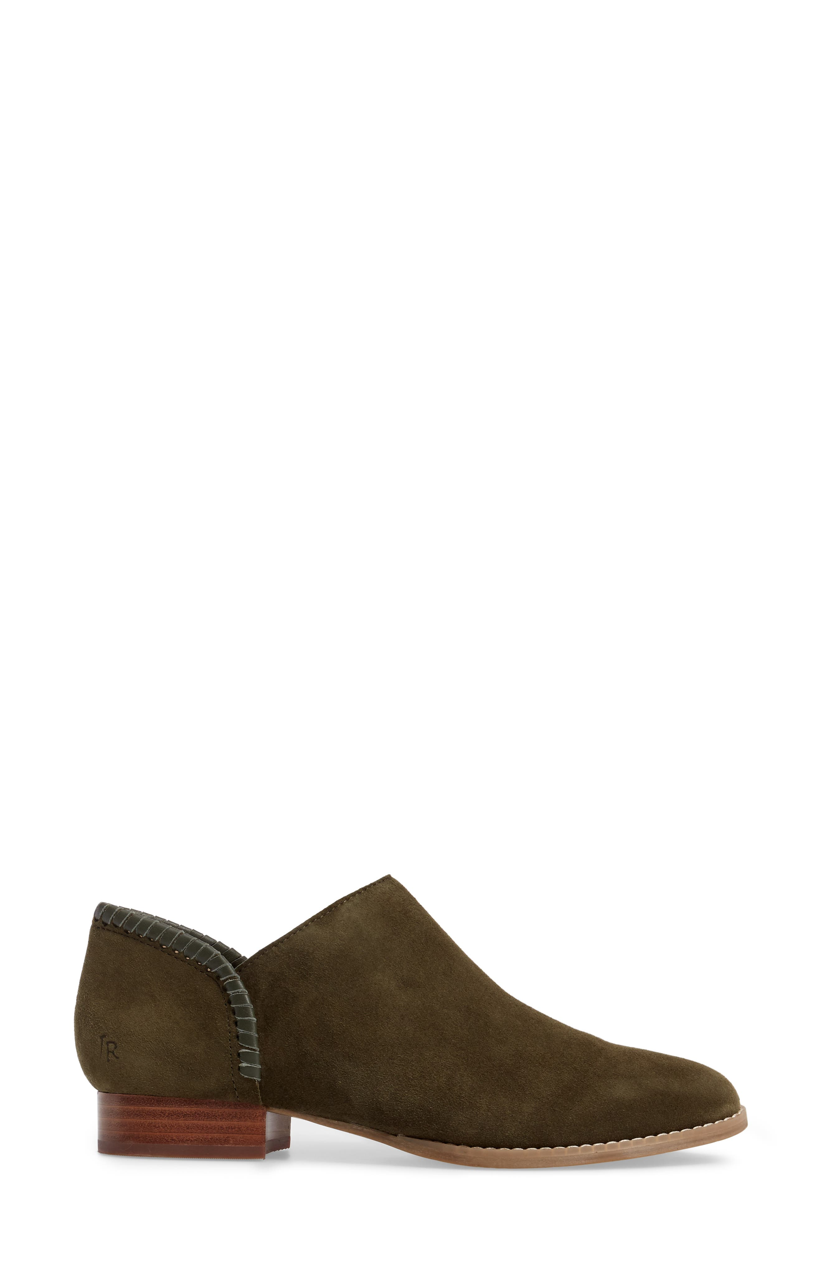 Avery Low Bootie,                             Alternate thumbnail 3, color,                             Olive Suede