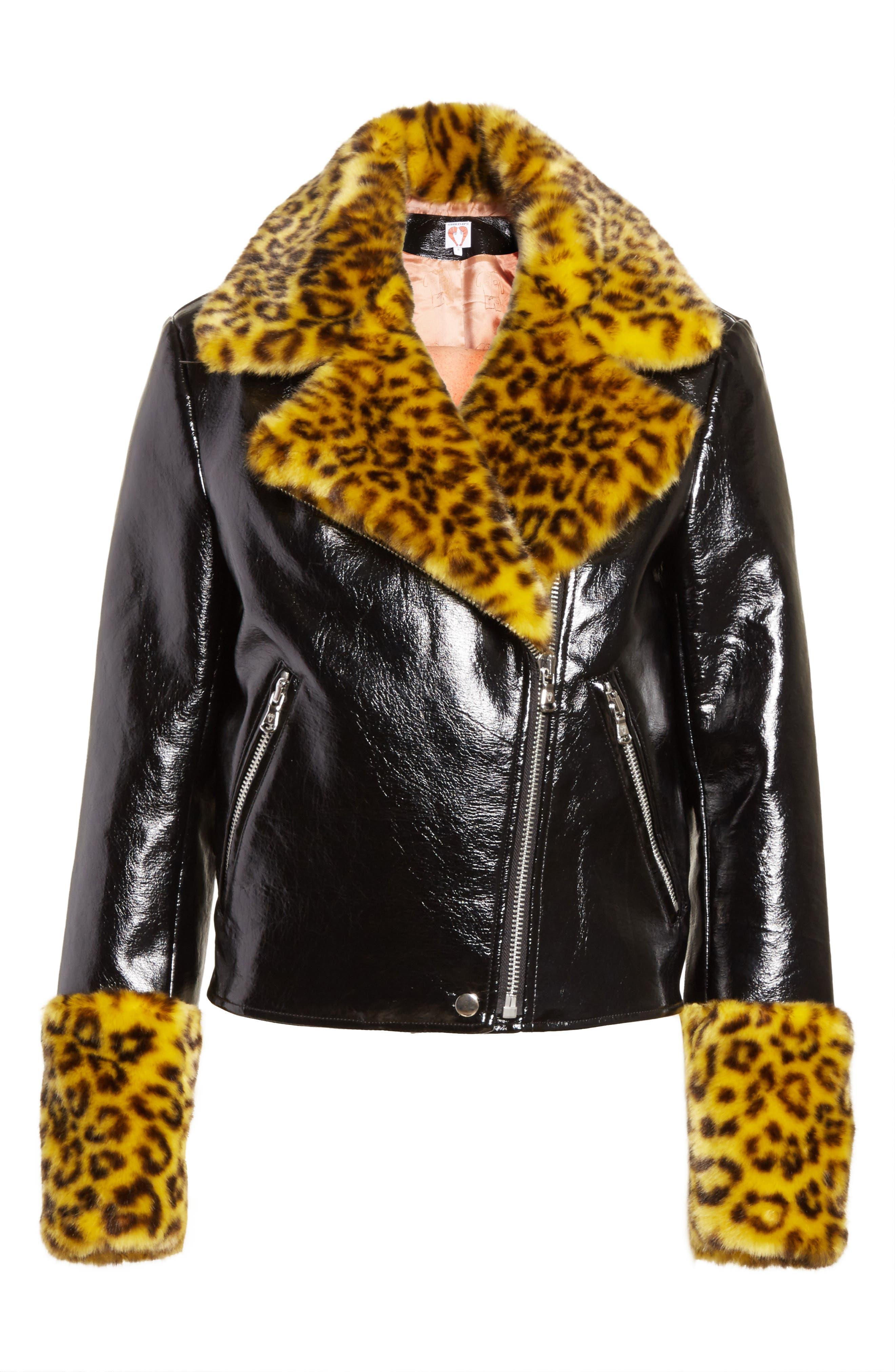 Maisie Faux Leather Biker Jacket with Faux Fur Trim,                             Alternate thumbnail 7, color,                             Black