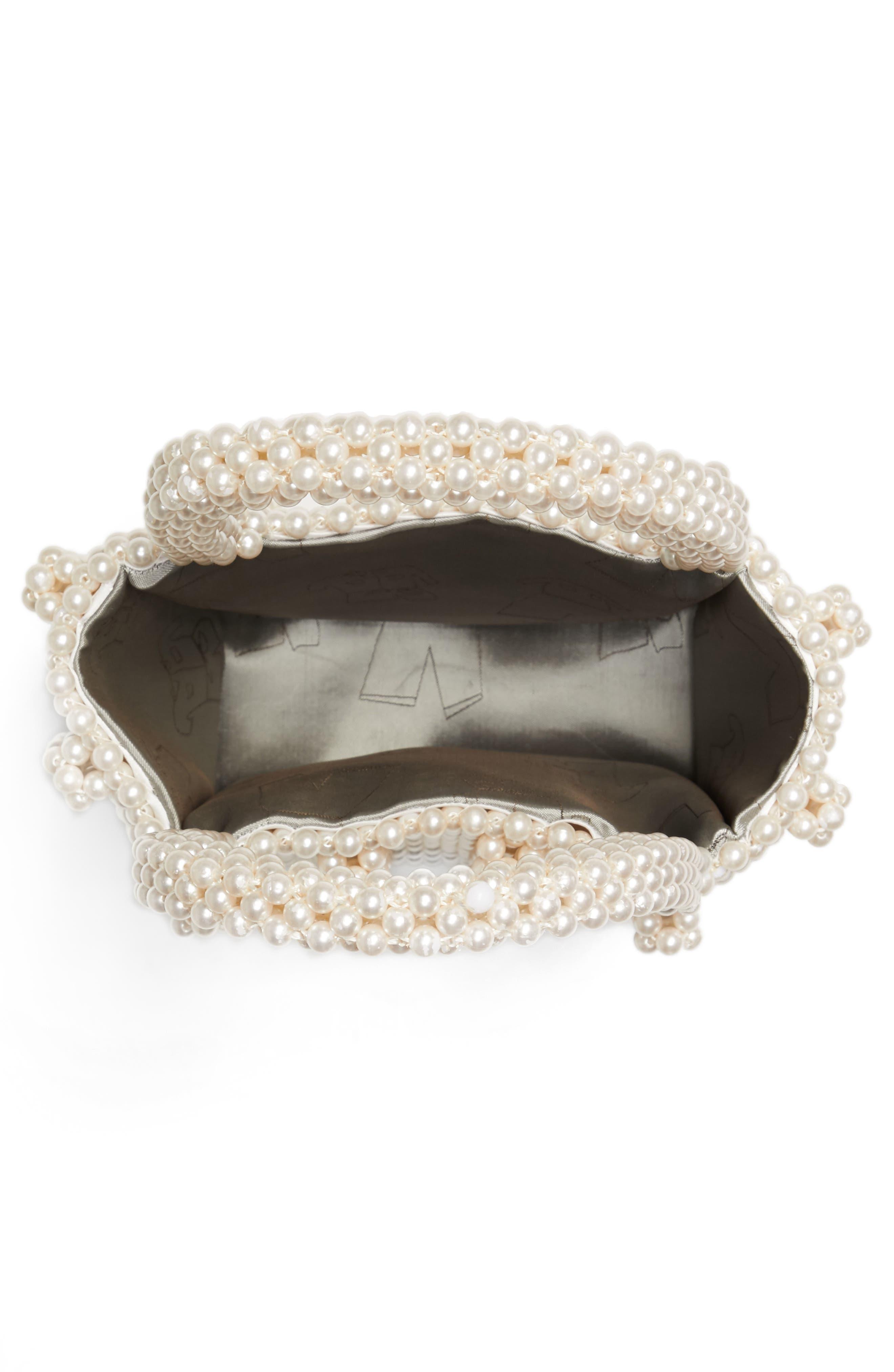 Antonia Small Imitation Pearl Beaded Handbag,                             Alternate thumbnail 5, color,                             Cream