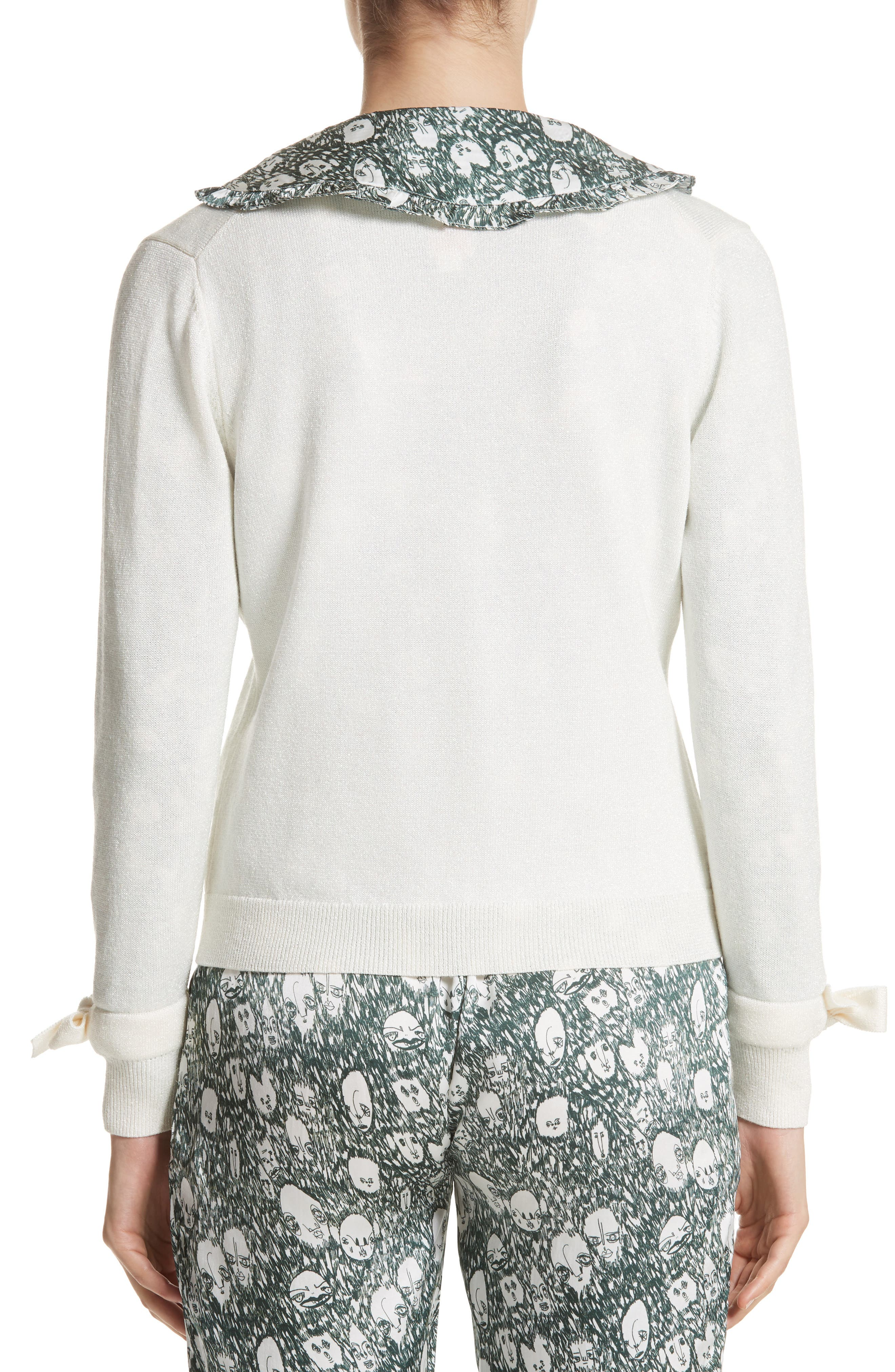 Lorna Embellished Bow Cuff Cardigan,                             Alternate thumbnail 2, color,                             Cream Lurex