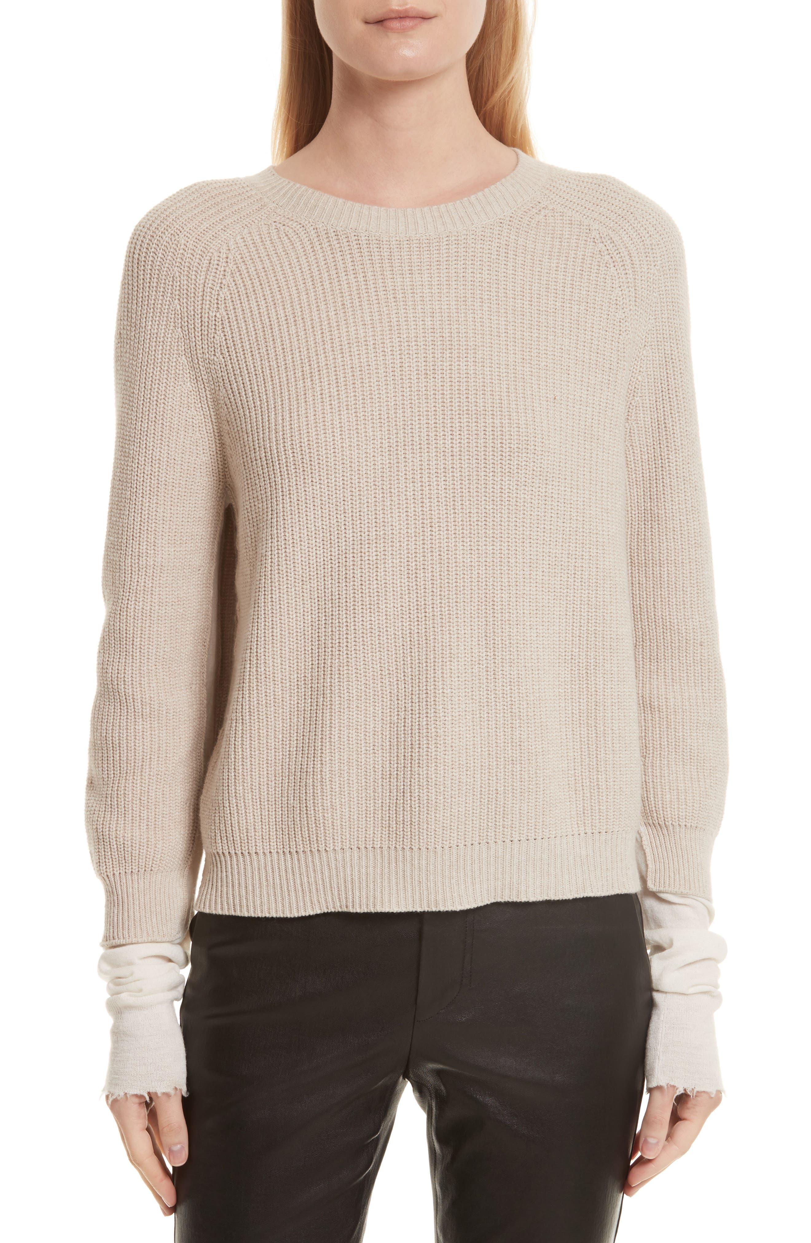 Layered Rib Pullover,                             Main thumbnail 1, color,                             Linen