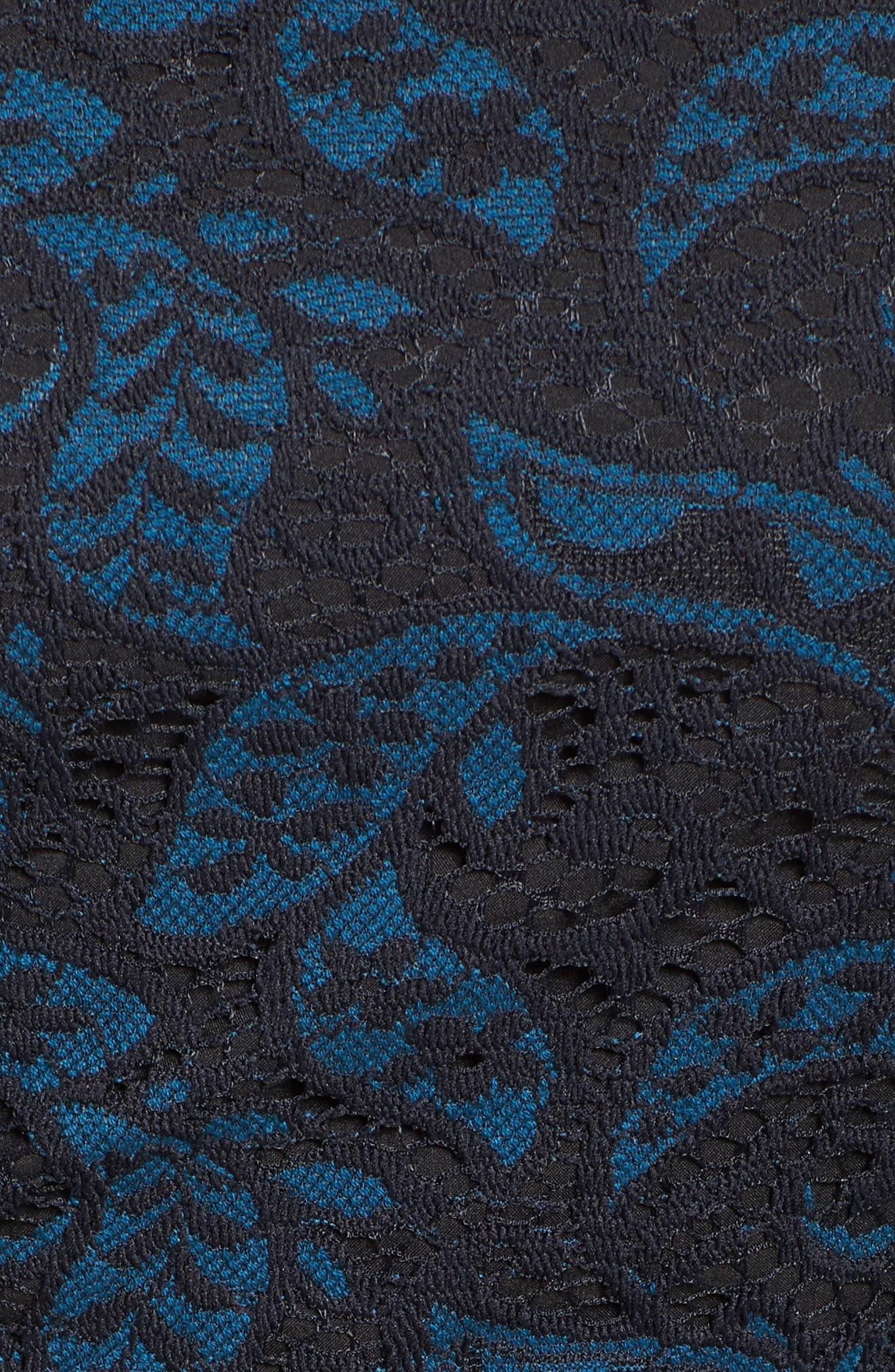 Lace Bishop Sleeve Dress,                             Alternate thumbnail 5, color,                             Blue/ Black