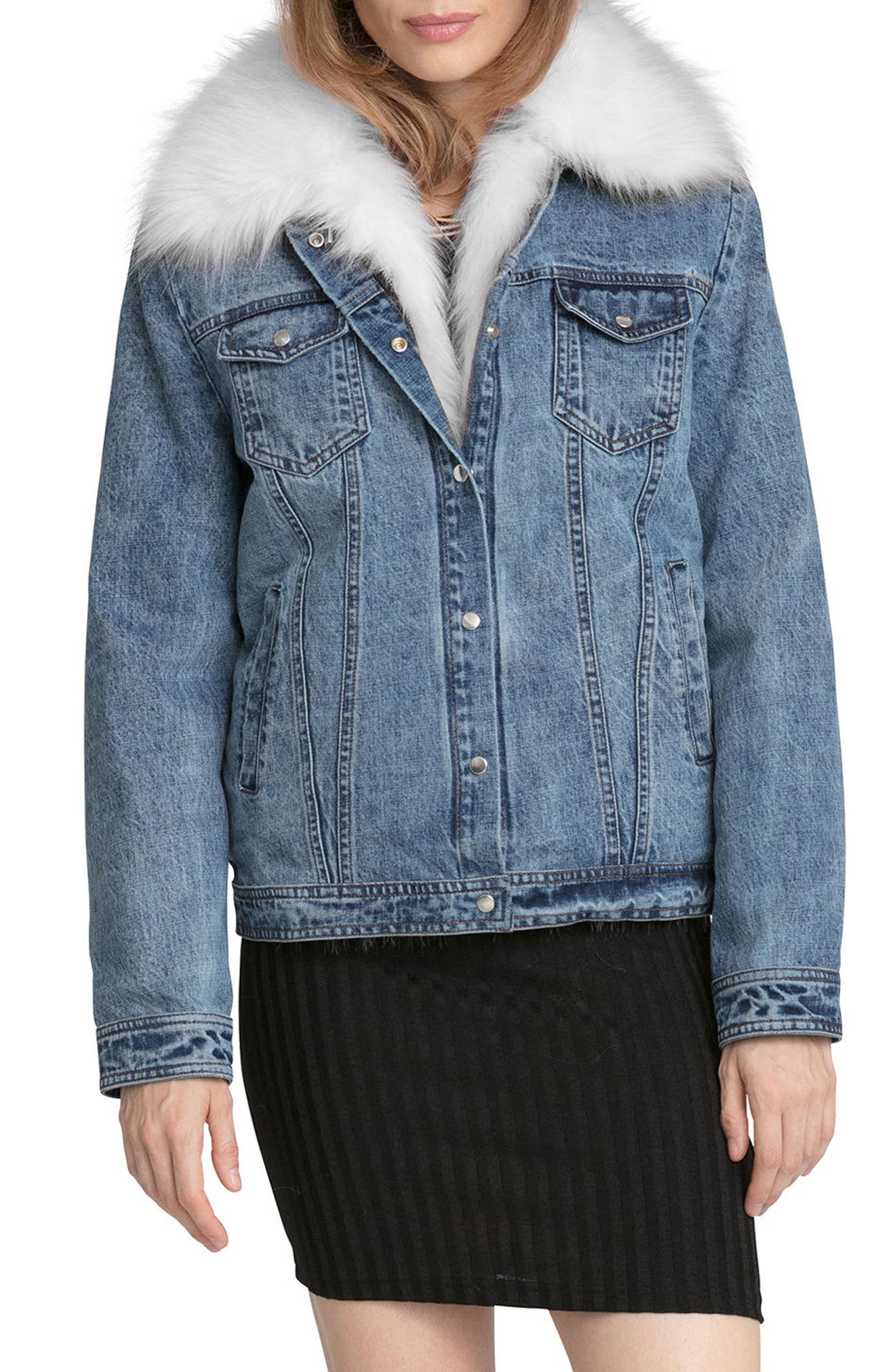 Main Image - Avec Les Filles Denim Trucker Jacket with Removable Faux Fur Trim