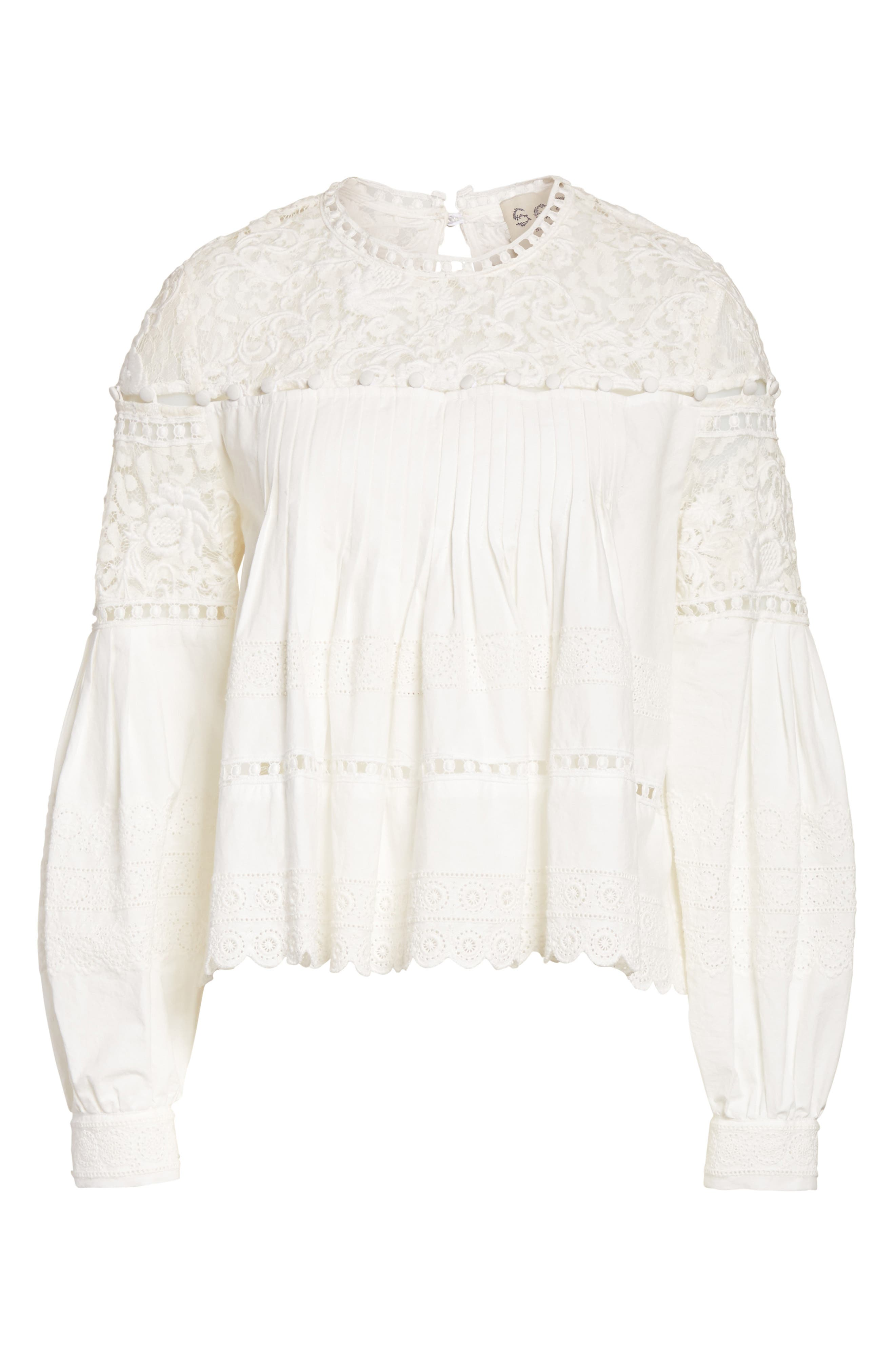 Cotton Eyelet Blouse,                             Alternate thumbnail 6, color,                             Cream