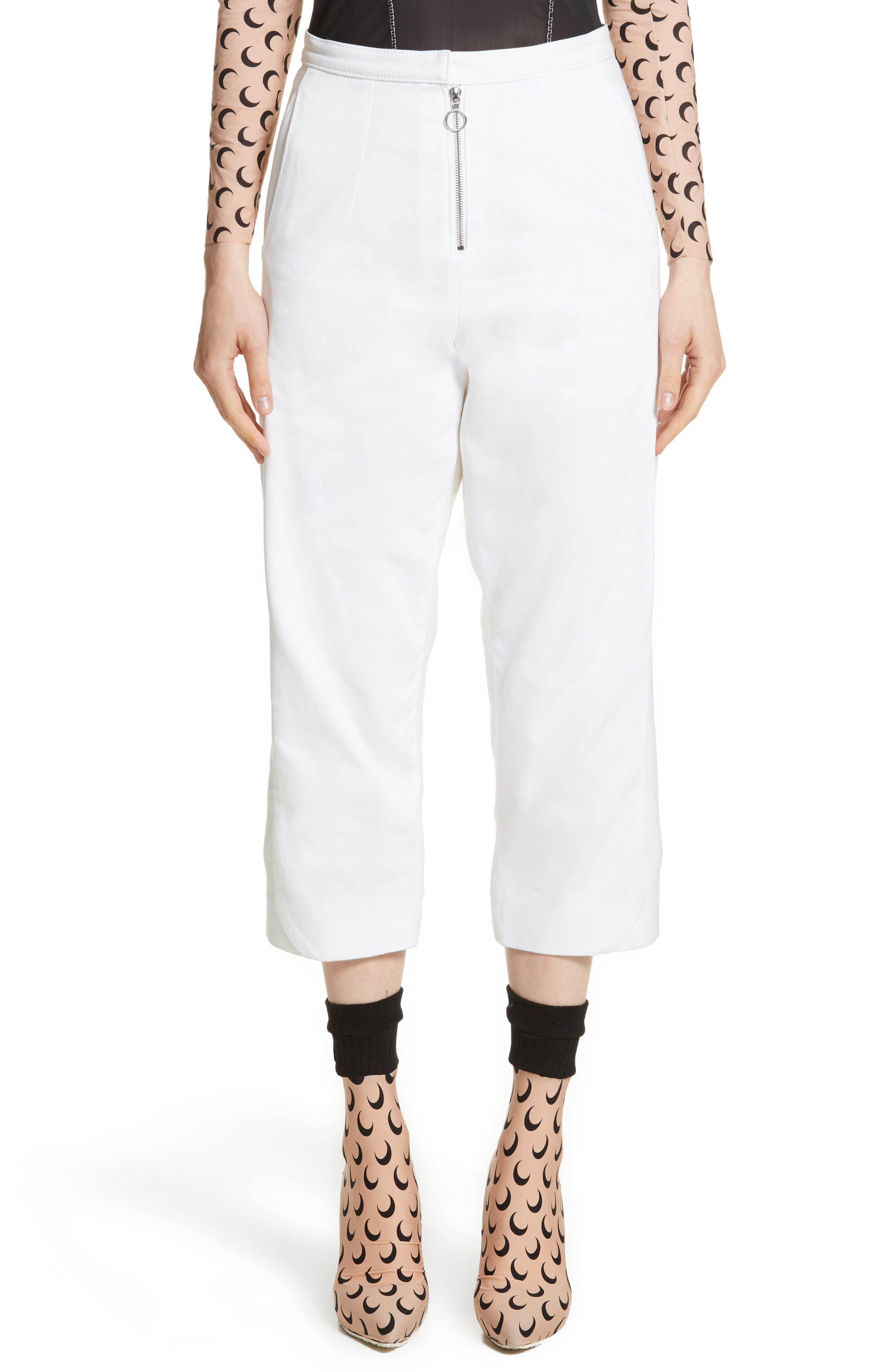 Crop Trousers,                         Main,                         color, White