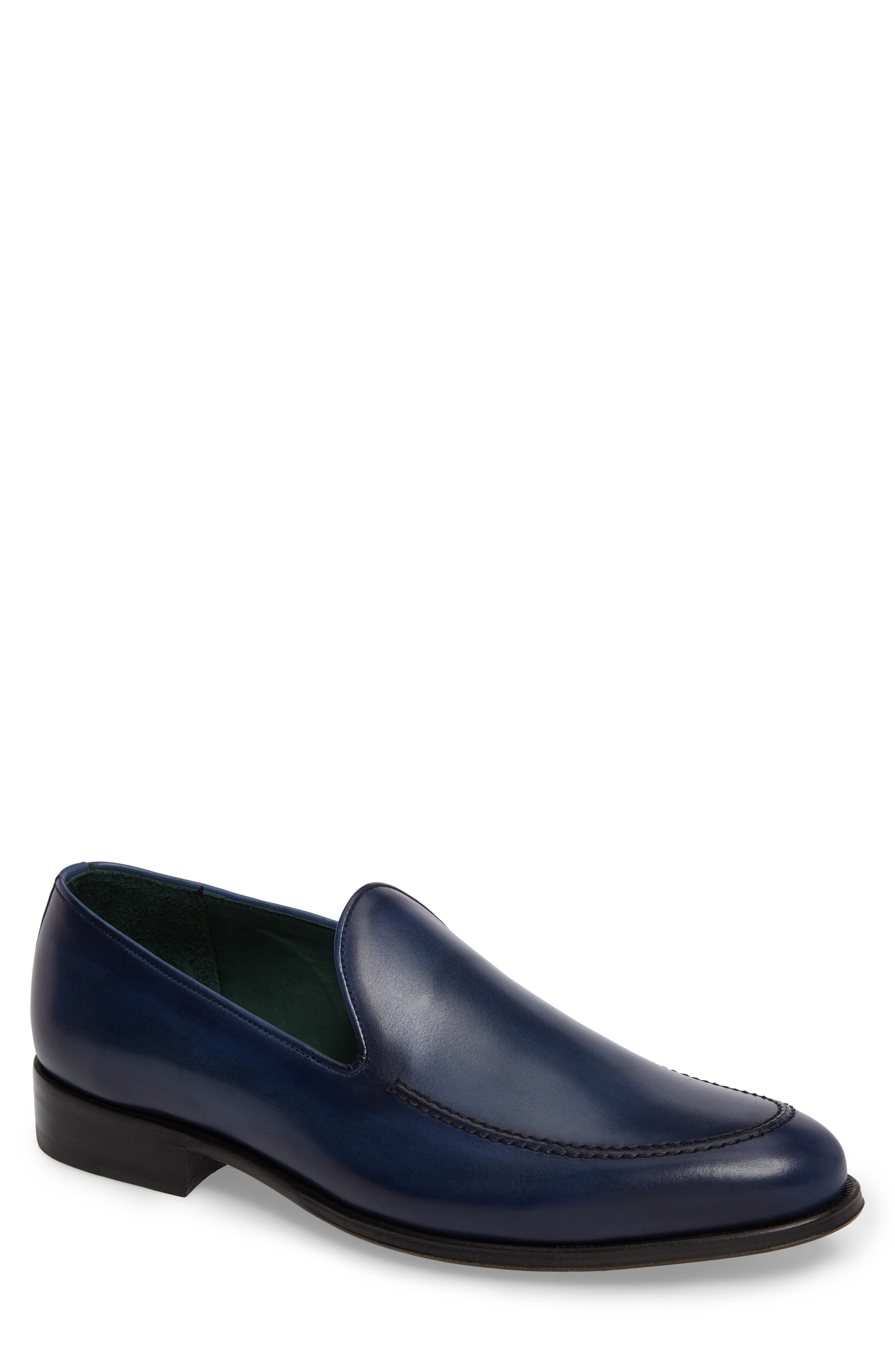 MEZLAN Rodin Apron Toe Loafer in Mid Blue Leather