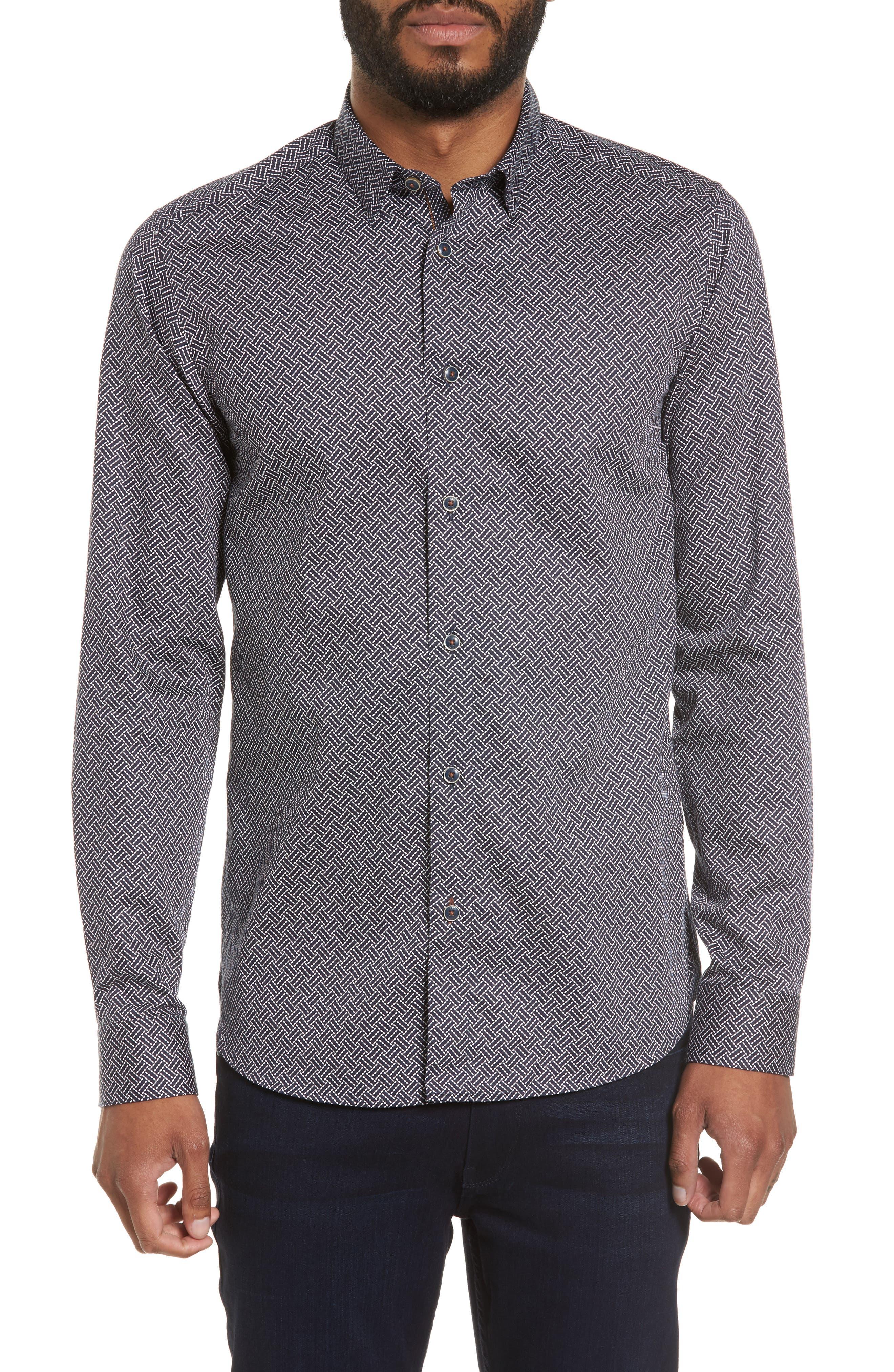 Larosh Slim Fit Basket Weave Print Sport Shirt,                         Main,                         color, Navy