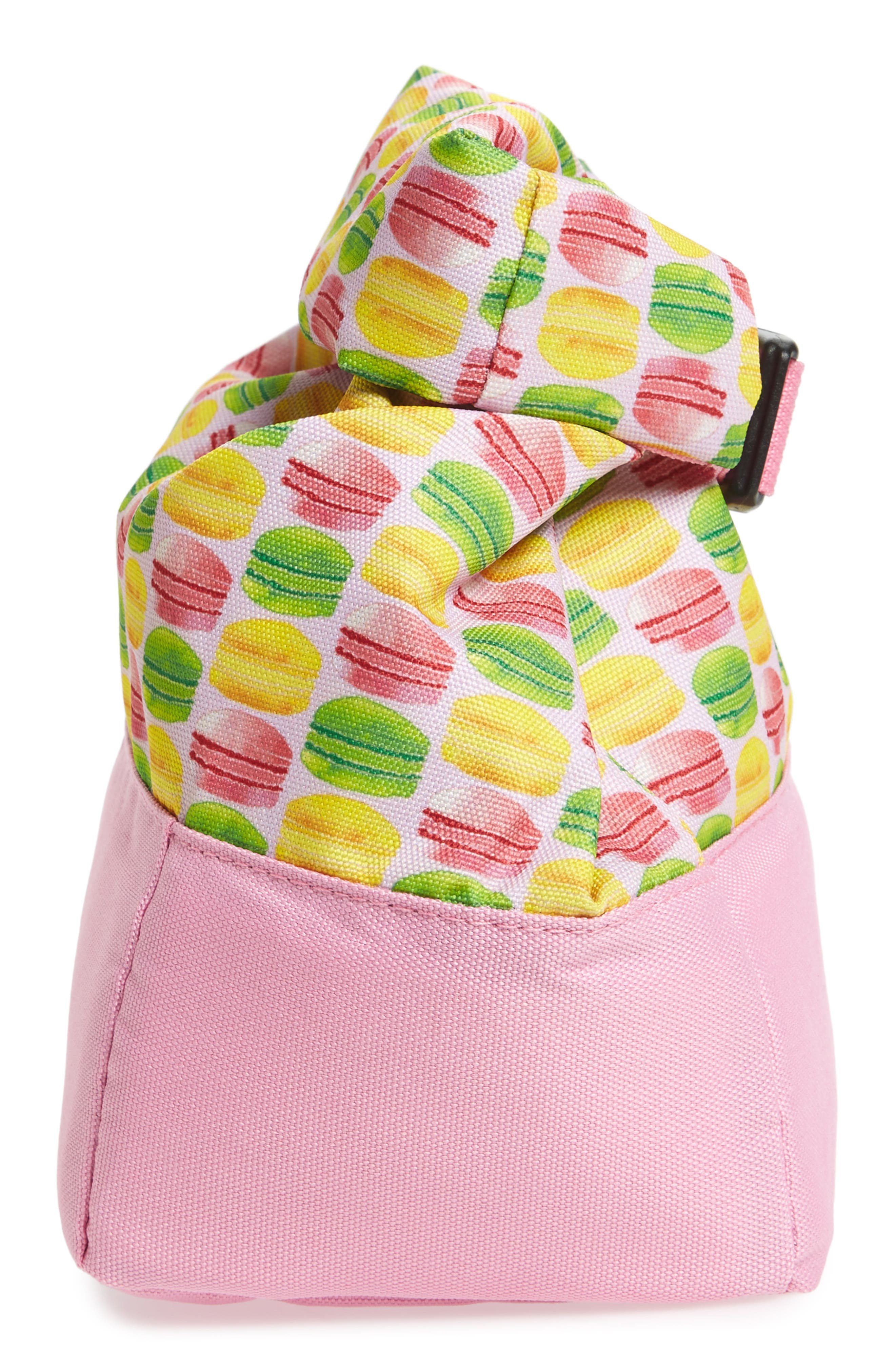 Macaron Print Roll Top Lunch Bag,                             Alternate thumbnail 3, color,                             Pink