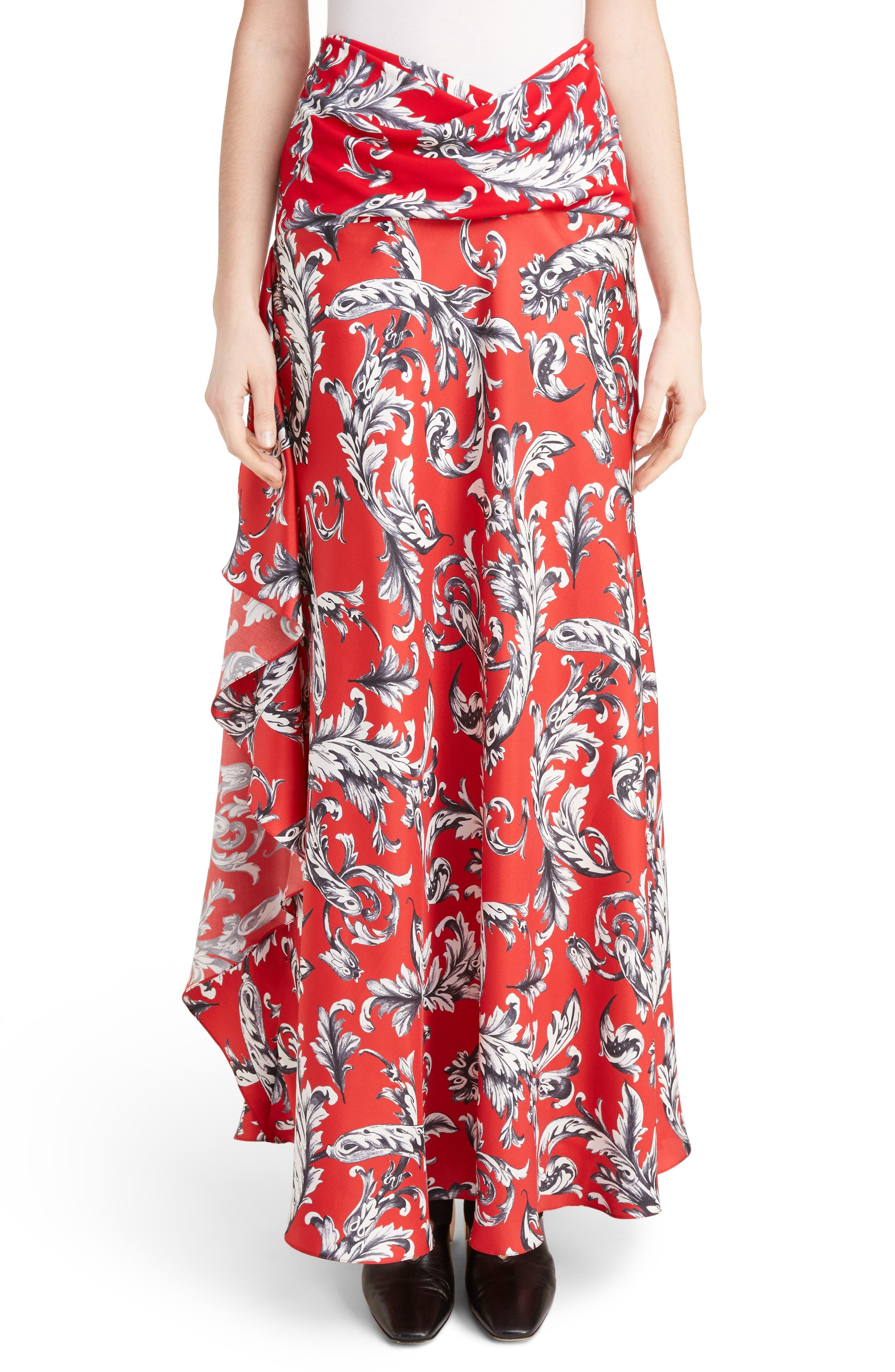 J.W.ANDERSON Filigree Print Asymmetrical Maxi Skirt,                         Main,                         color, Cherry