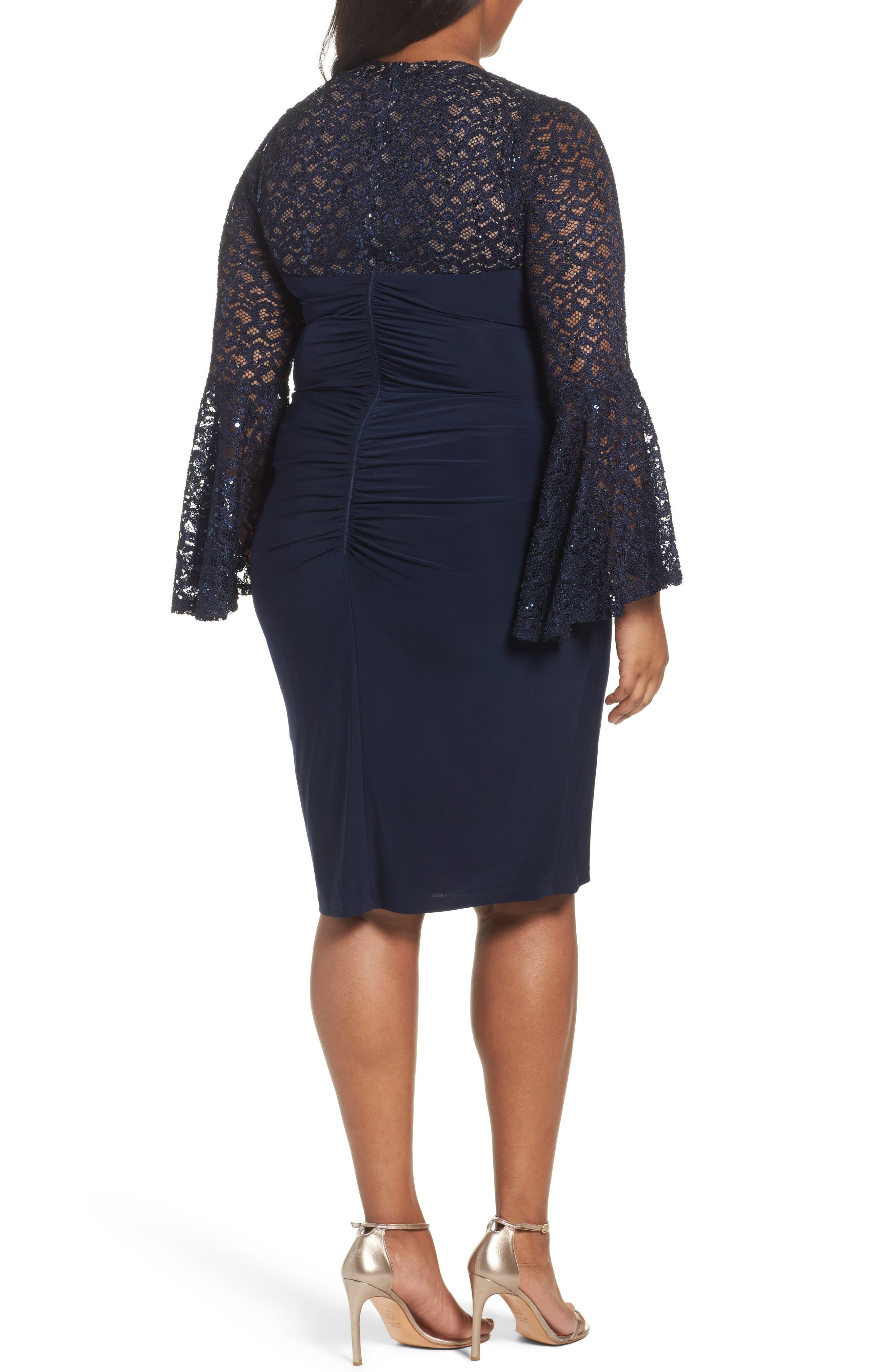 Alternate Image 2  - Xscape Ruched Lace Sleeve Sheath Dress (Plus Size)