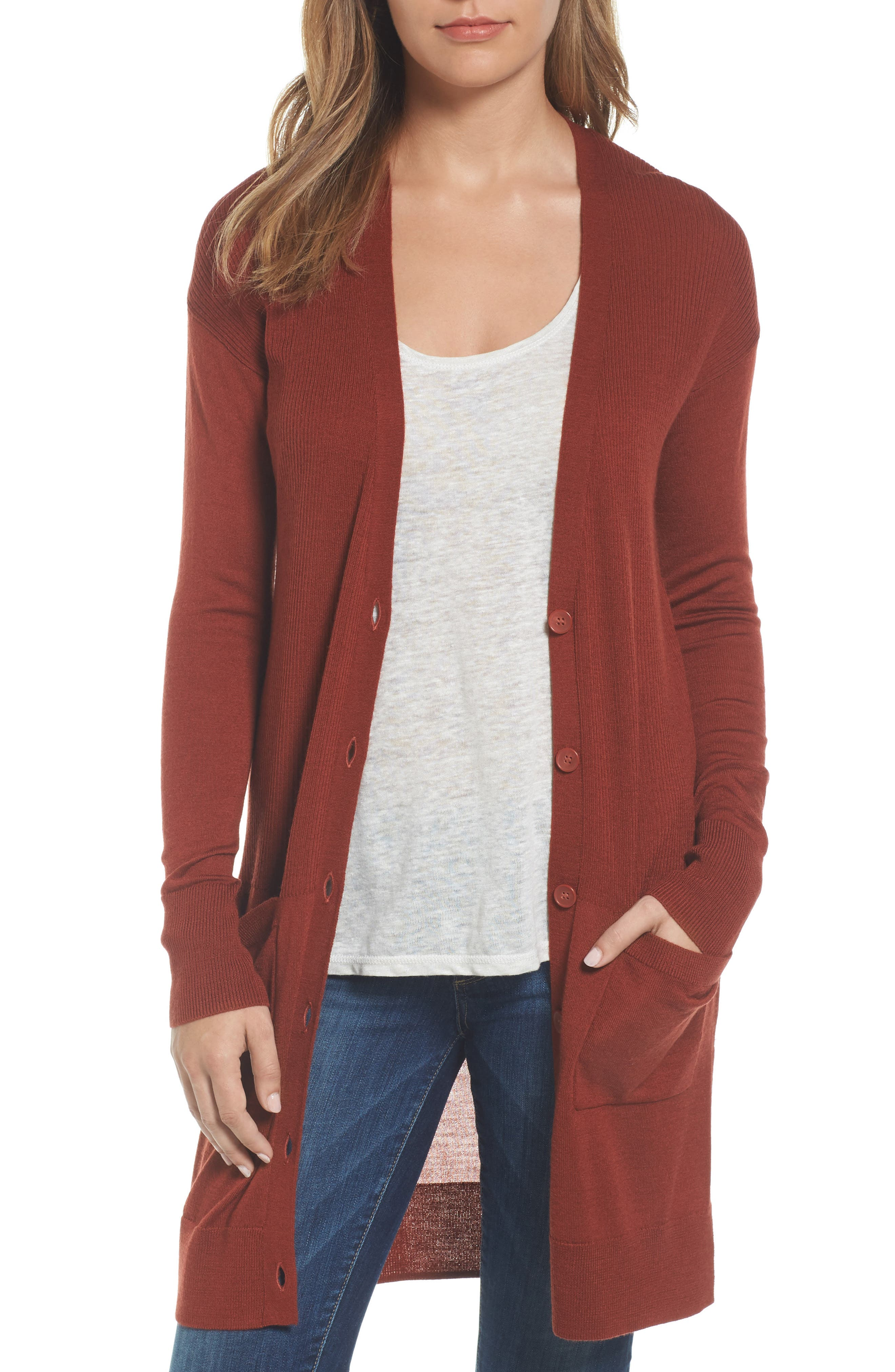 Halogen® Rib Knit Wool Blend Cardigan (Regular & Petite)