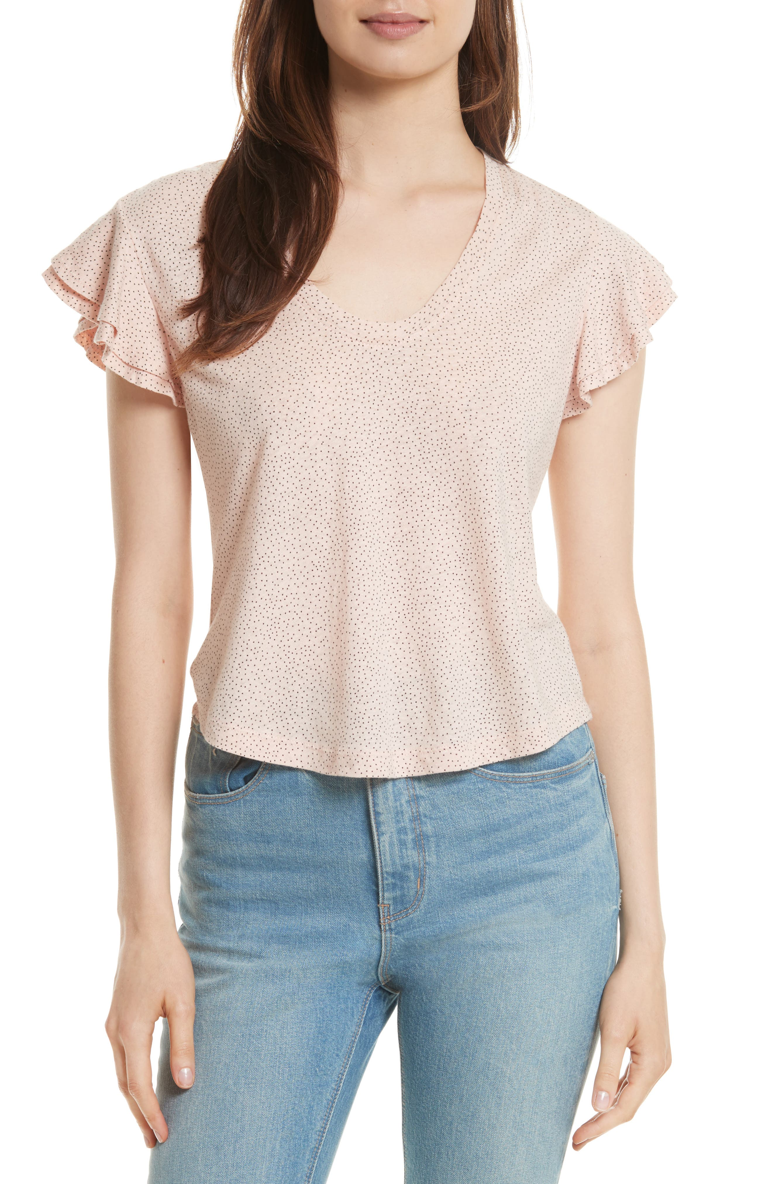 Cherie Dot Flutter Sleeve Top,                         Main,                         color, Pale Blush Combo