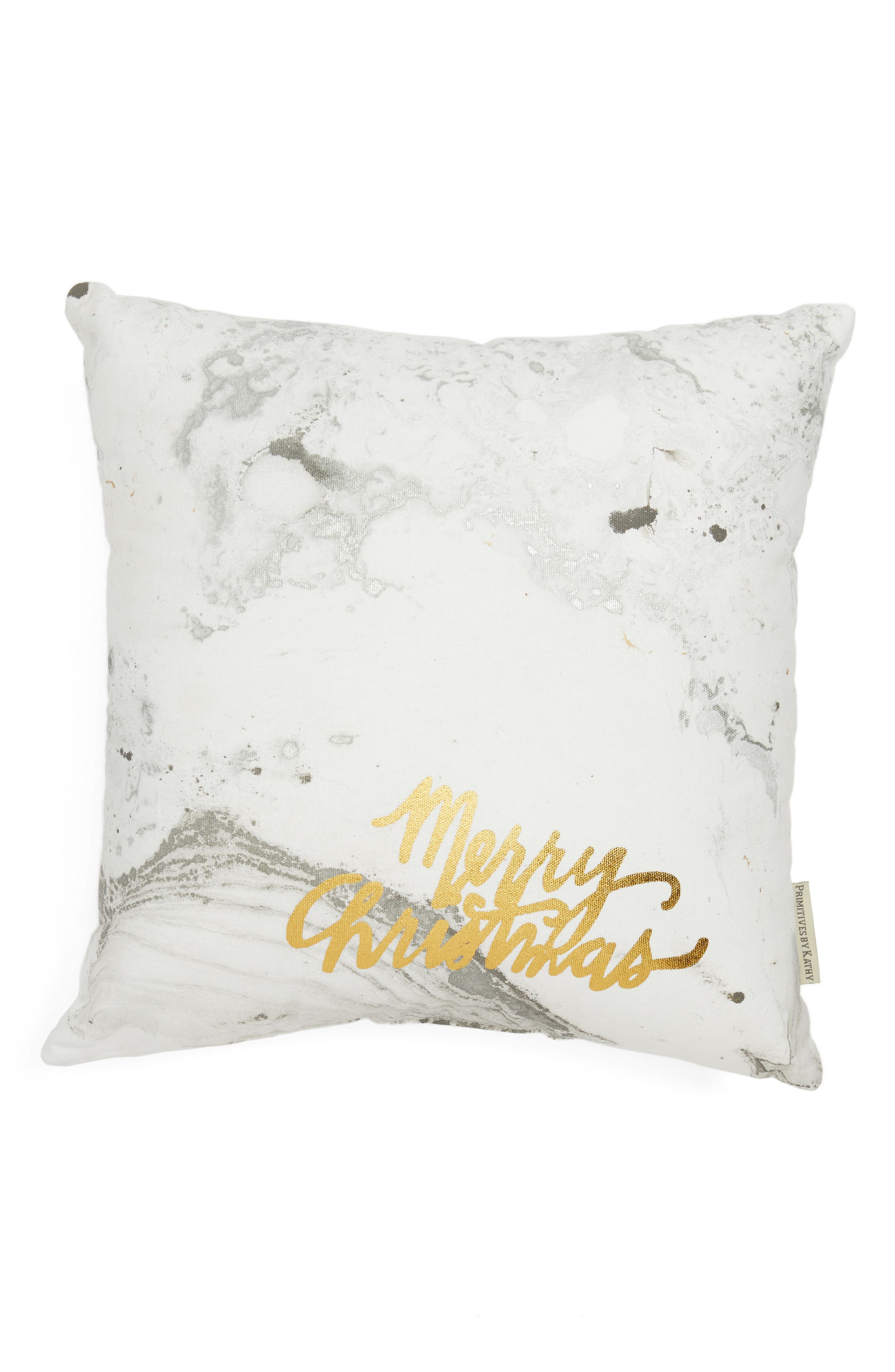 Merry Christmas Accent Pillow,                         Main,                         color, Grey