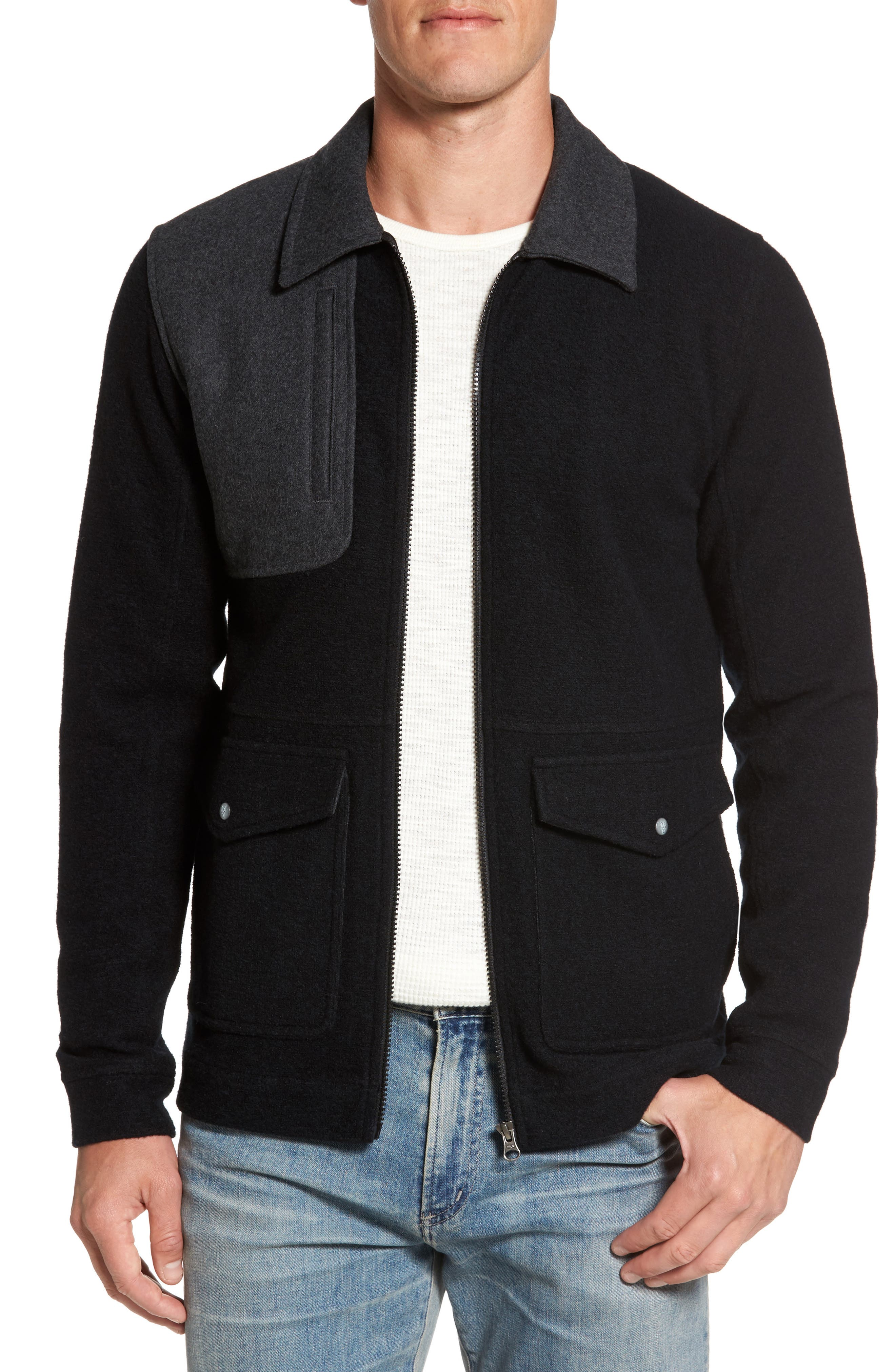 Scout Around Merino Wool Blend Shirt Jacket,                         Main,                         color, Black