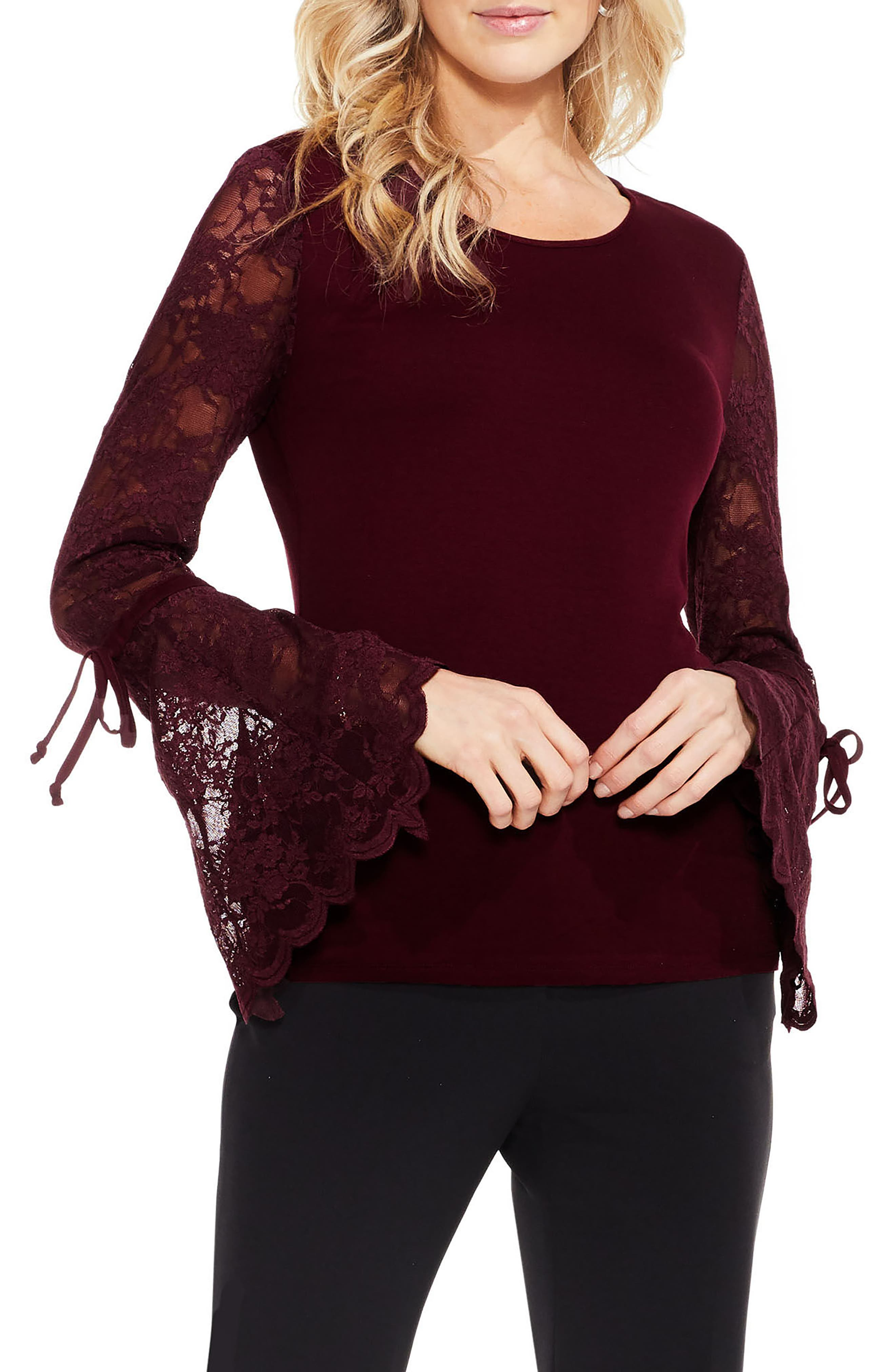 Alternate Image 1 Selected - Vince Camuto Lace Bell Sleeve Top