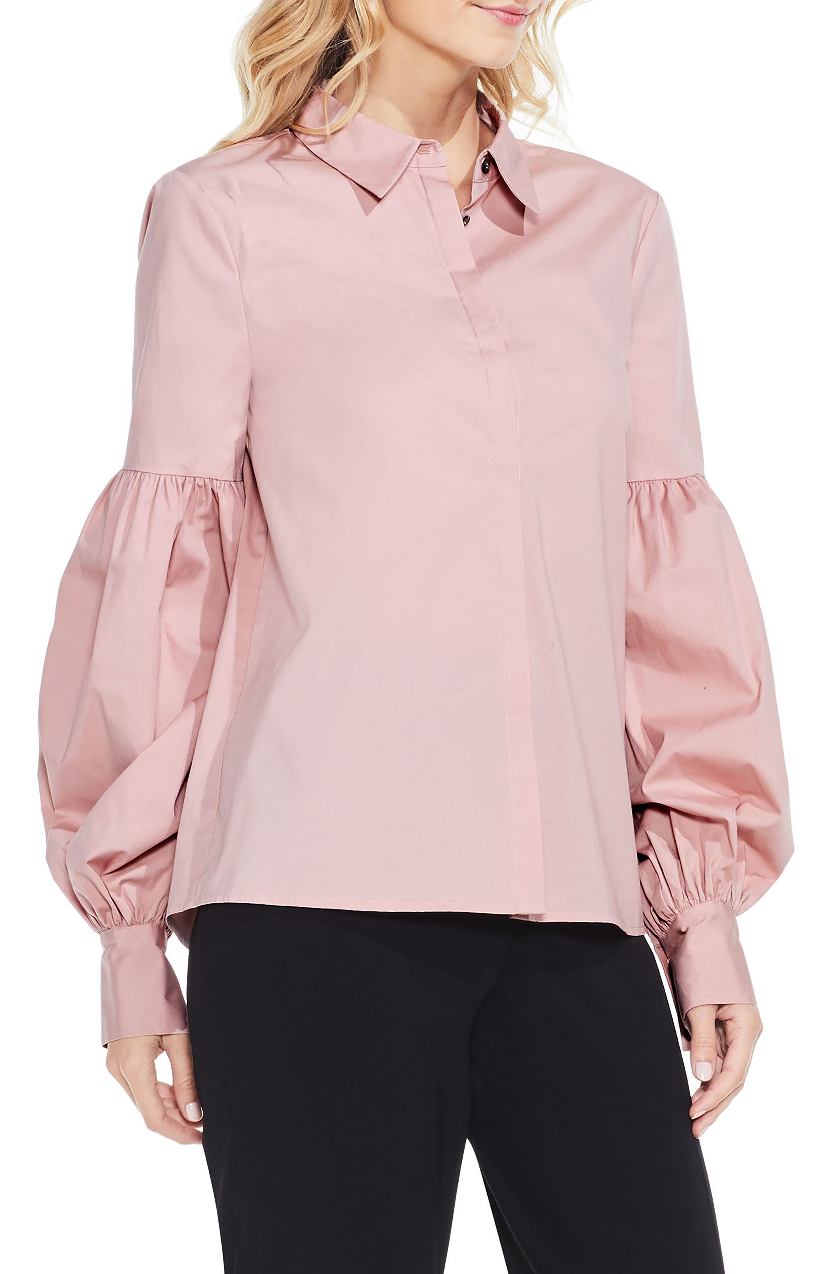 Puff Sleeve Shirt,                         Main,                         color, Iced Rose