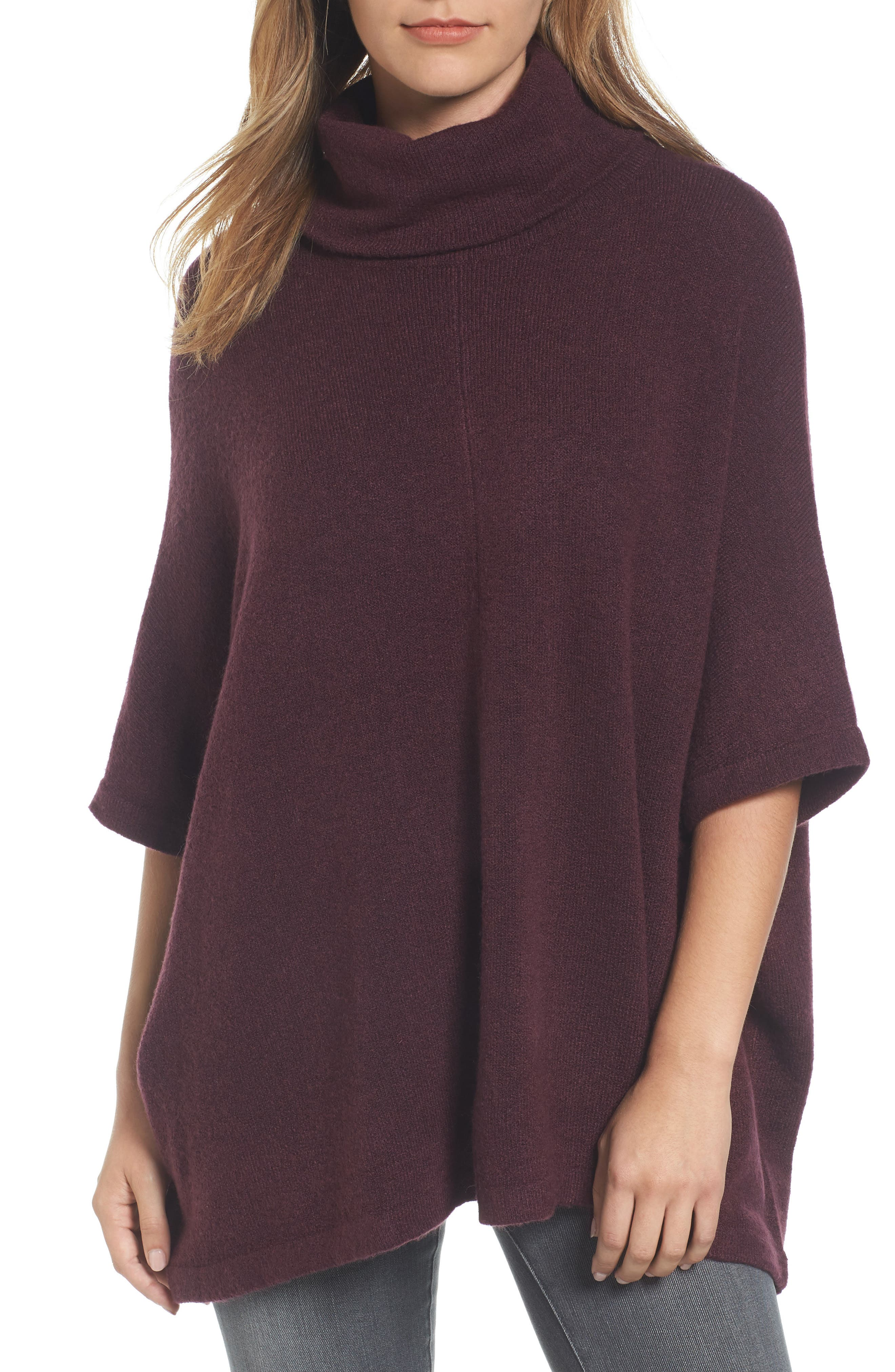 Alternate Image 1 Selected - Caslon® Cowl Neck Sweater Poncho (Regular & Petite)