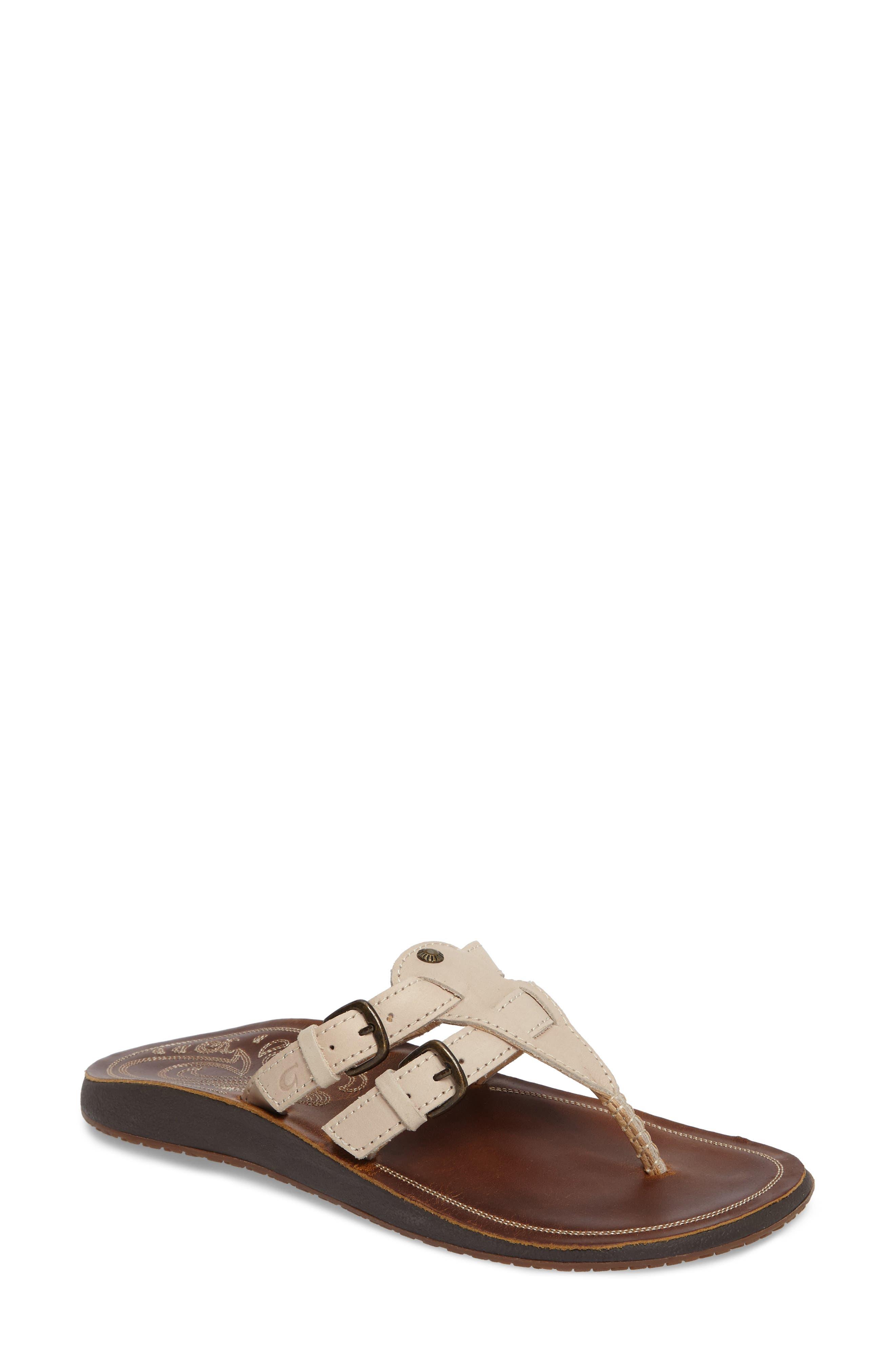 Honoka'a Buckle Flip Flop,                             Main thumbnail 1, color,                             Tapa/ Sahara Leather