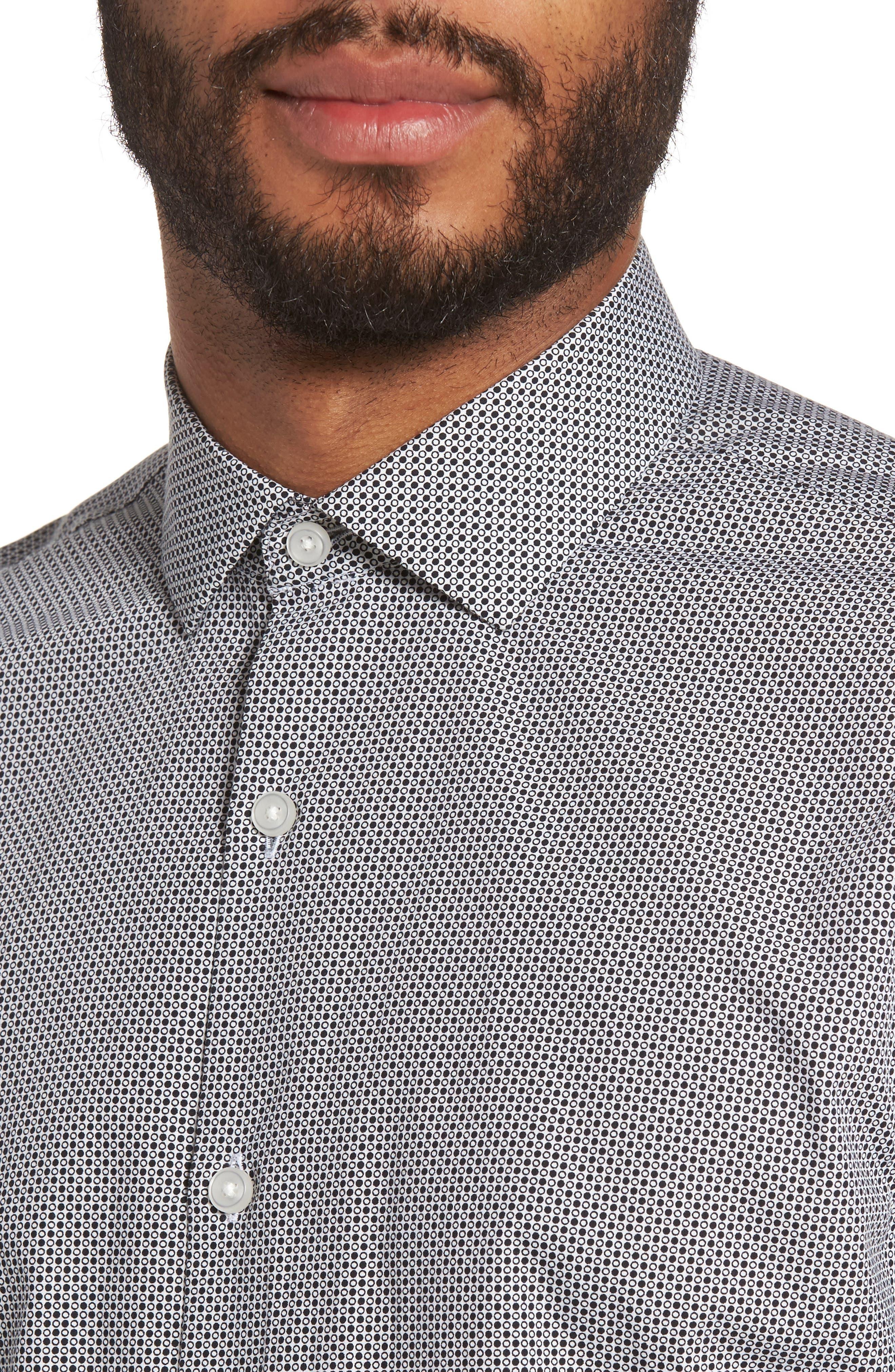 Dot Print Sport Shirt,                             Alternate thumbnail 4, color,                             White Black Mini Circle Print