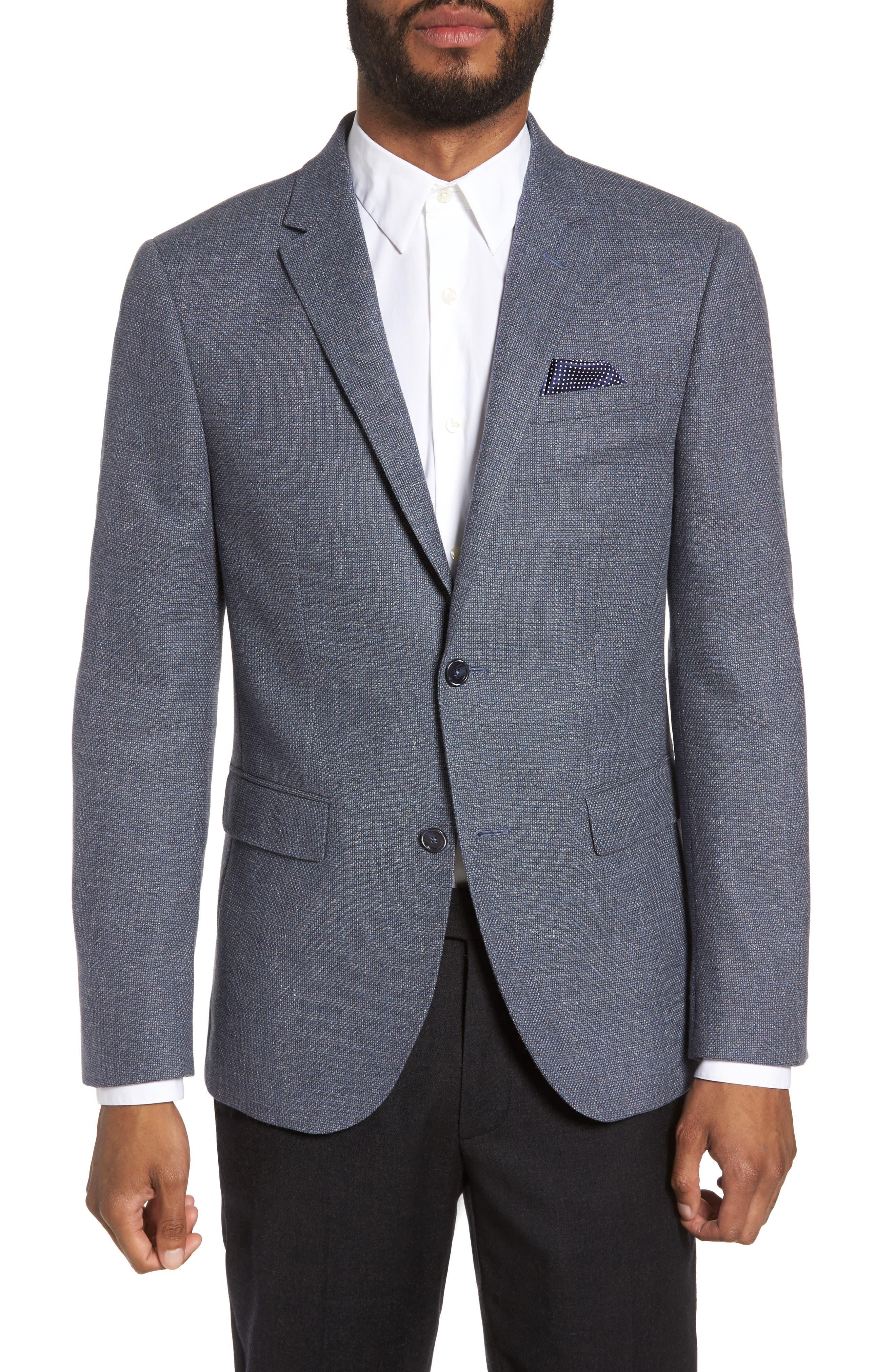 SAND Trim Fit Wool & Cotton Blazer