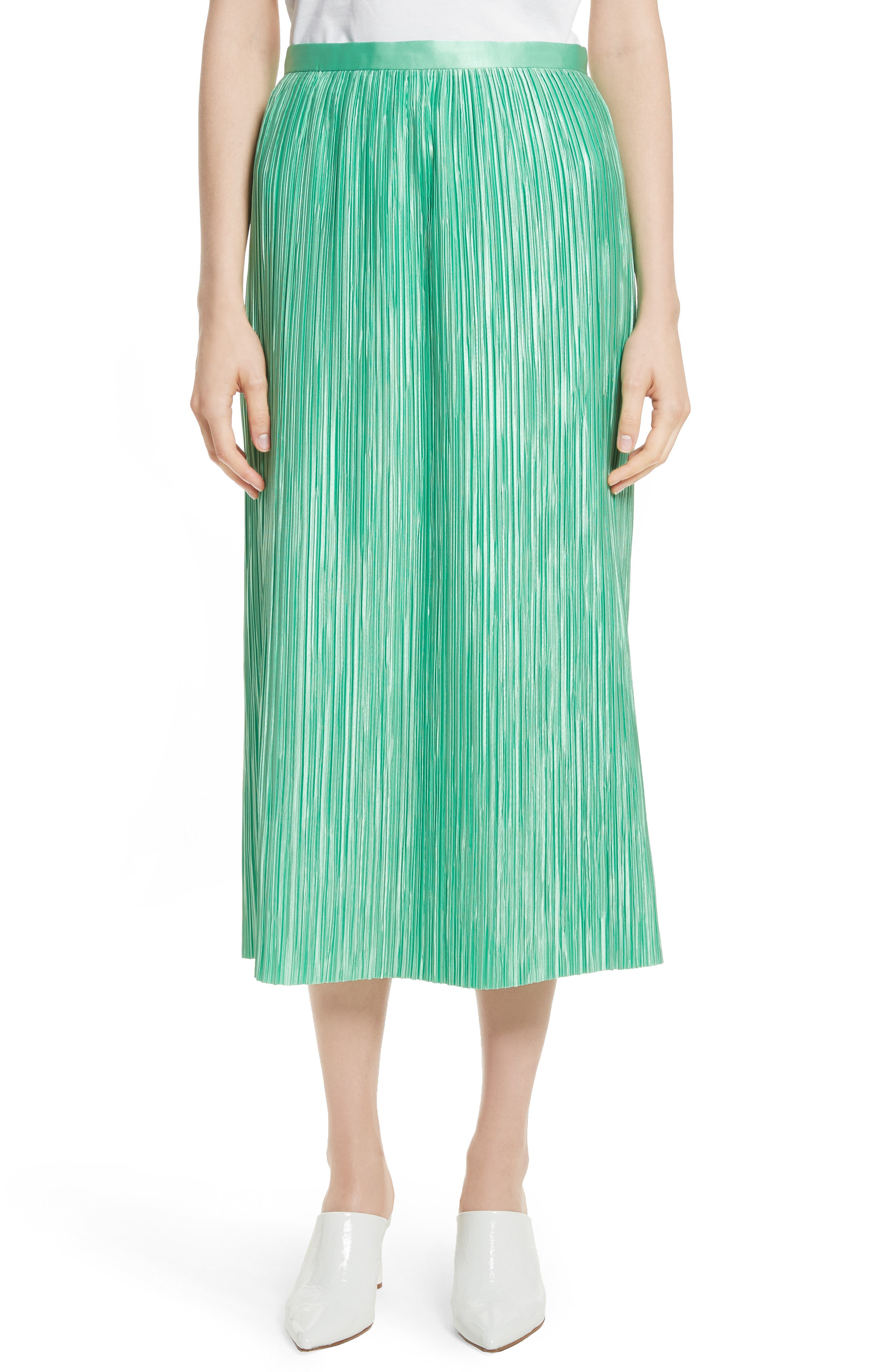 Tibi Plissé Pleated Midi Skirt