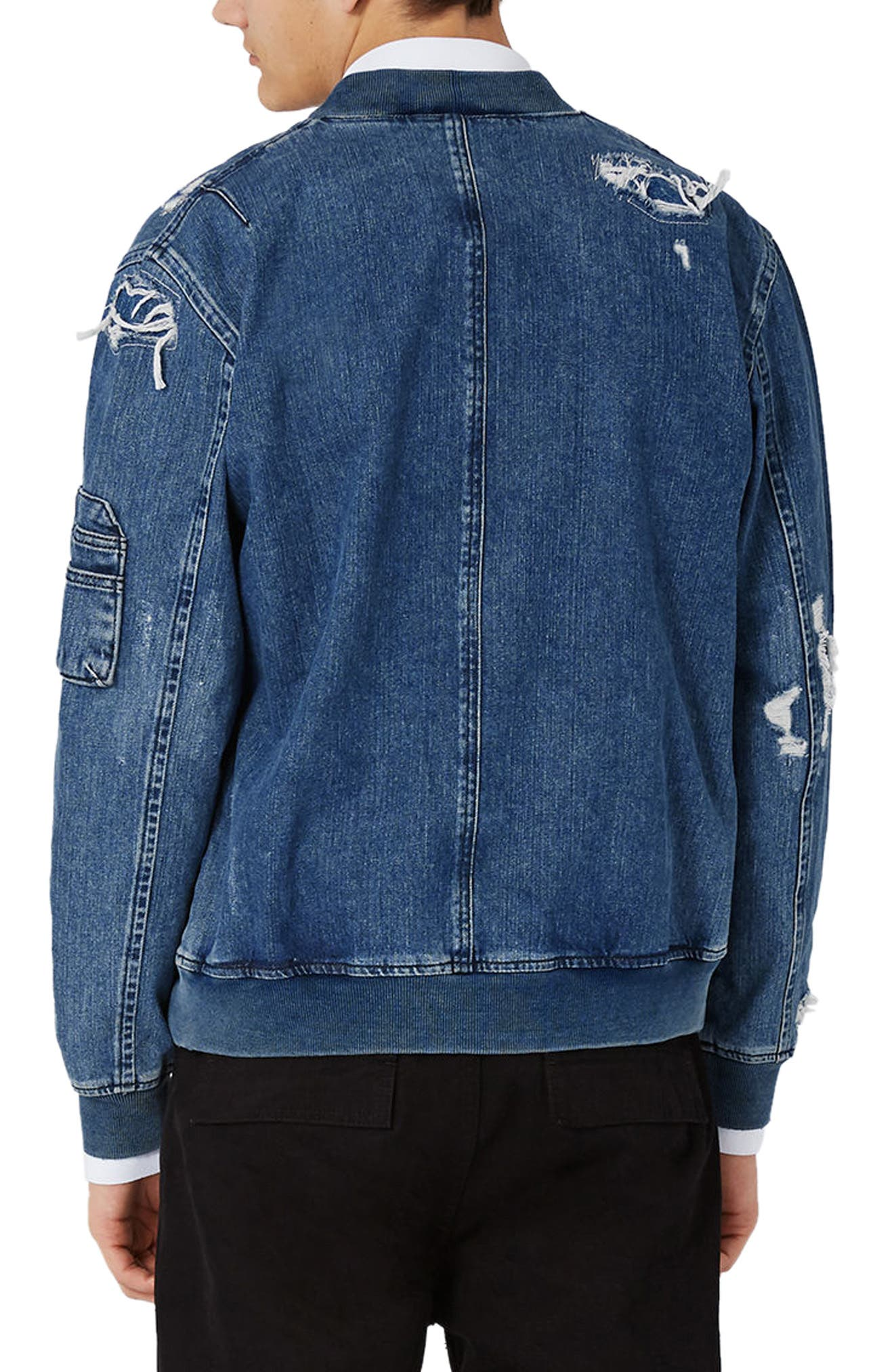 Alternate Image 3  - Topman Distressed Denim Bomber Jacket