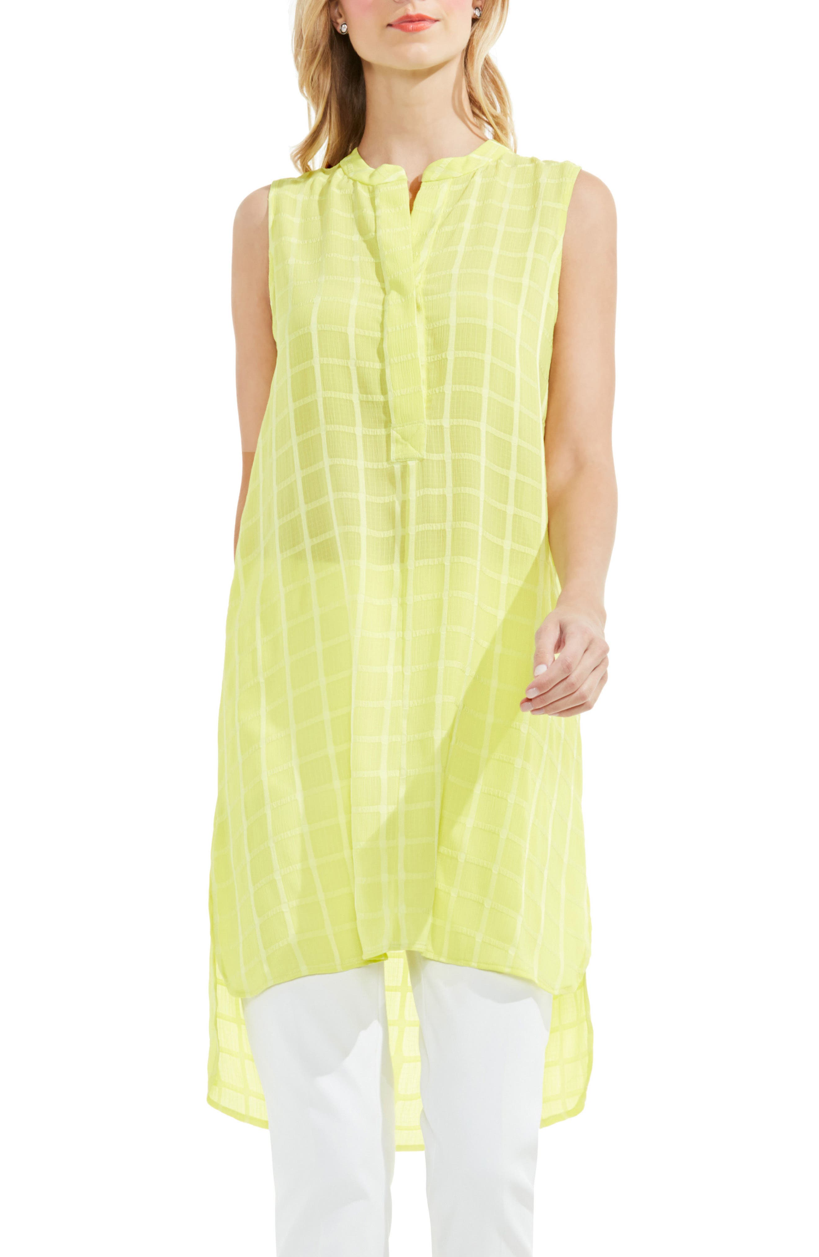 Main Image - Vince Camuto Check Split Neck Tunic