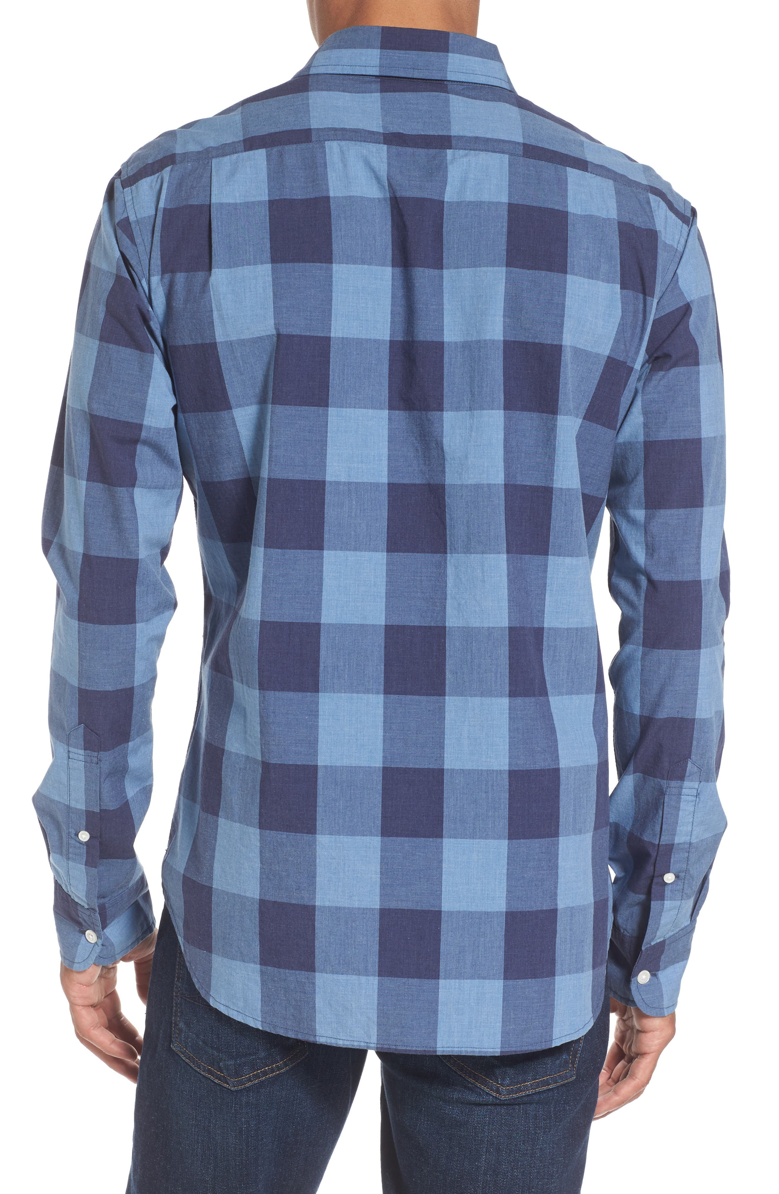 Slim Fit Washed Check Sport Shirt,                             Alternate thumbnail 2, color,                             Blue Grey Plaid