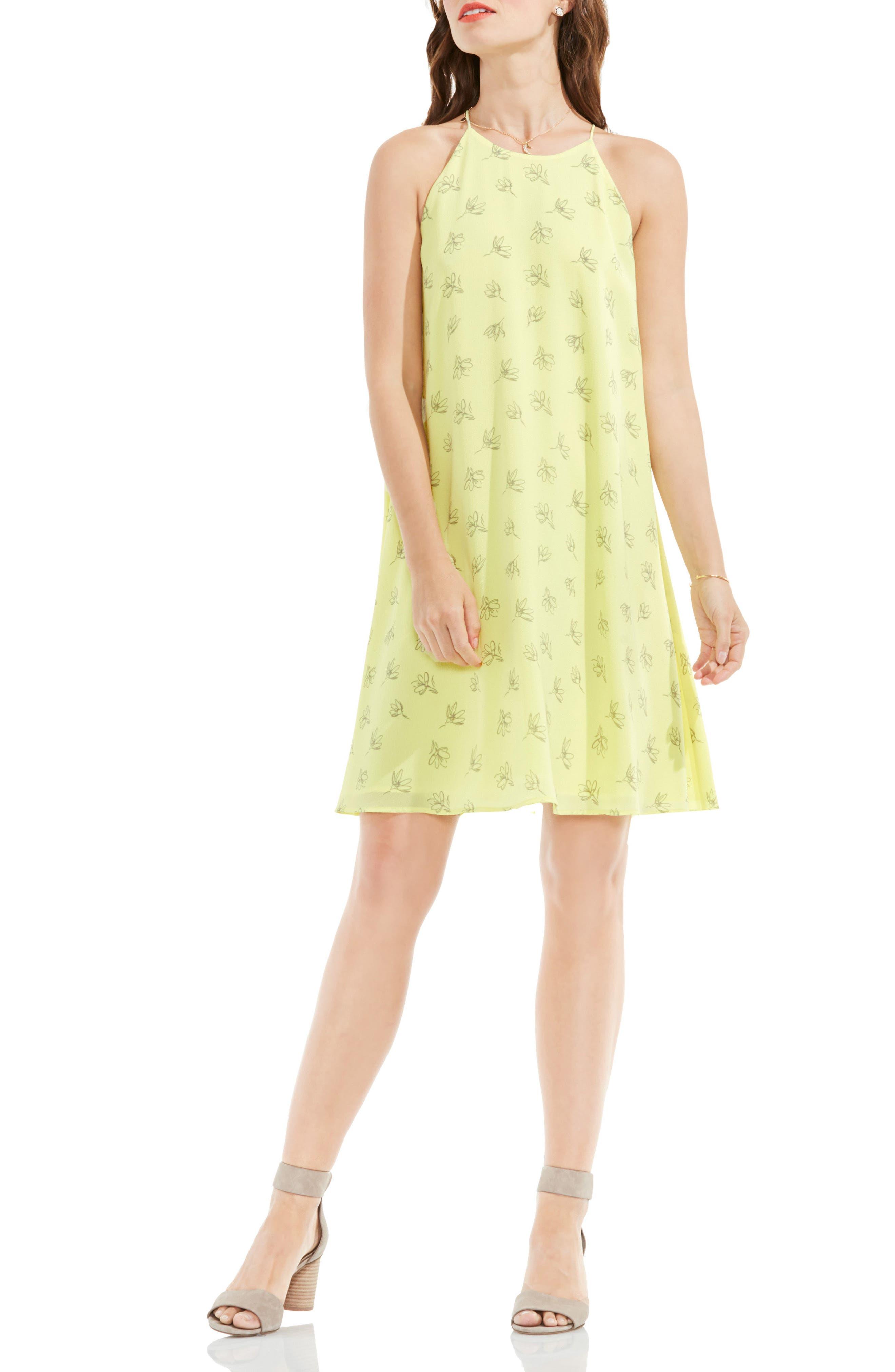 Fluent Flowers Print Sleeveless A-Line Dress,                             Main thumbnail 1, color,                             Key Lime