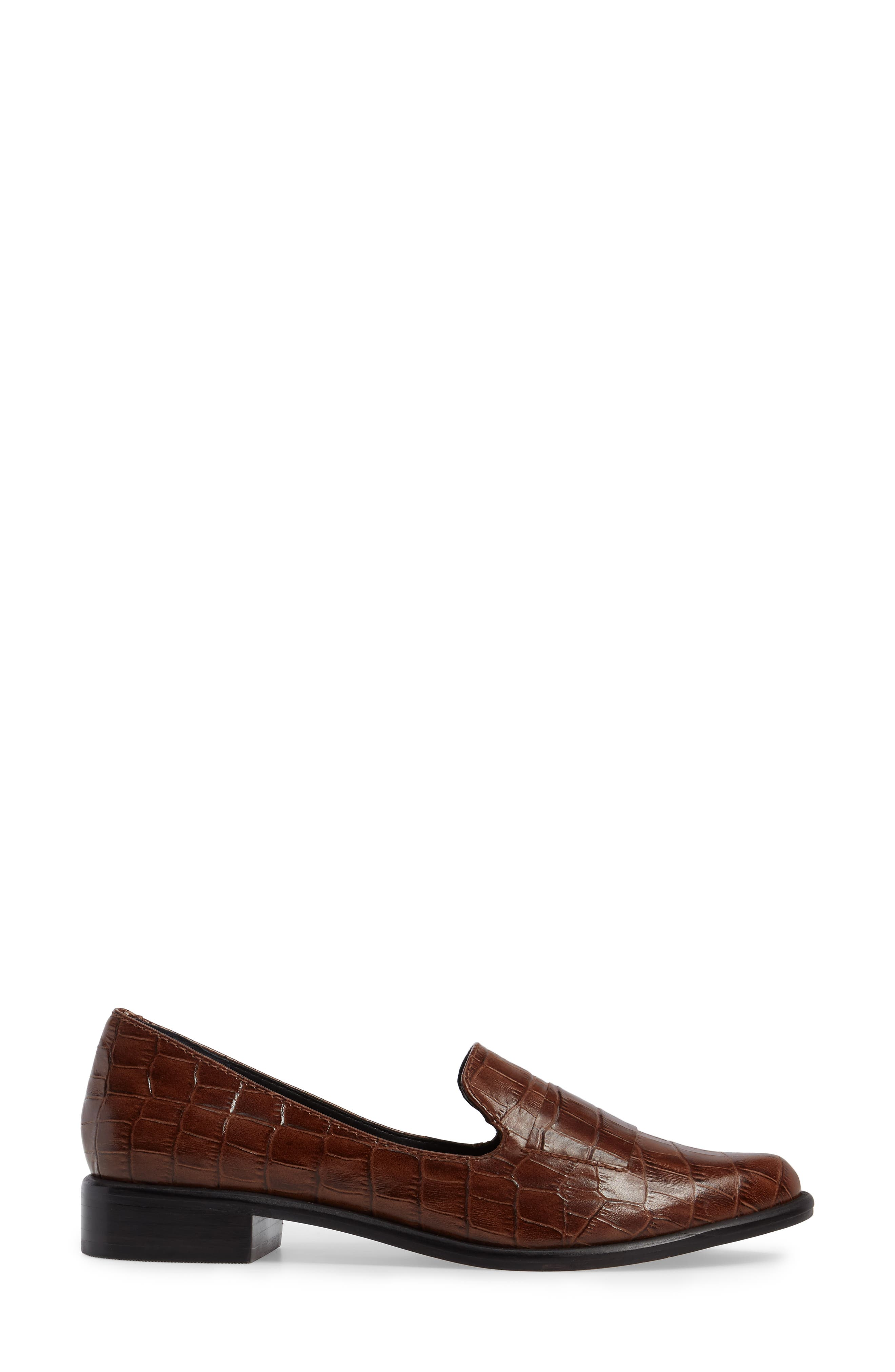 M4D3 'Ocean' Flat Loafer,                             Alternate thumbnail 3, color,                             Whiskey Croc Leather